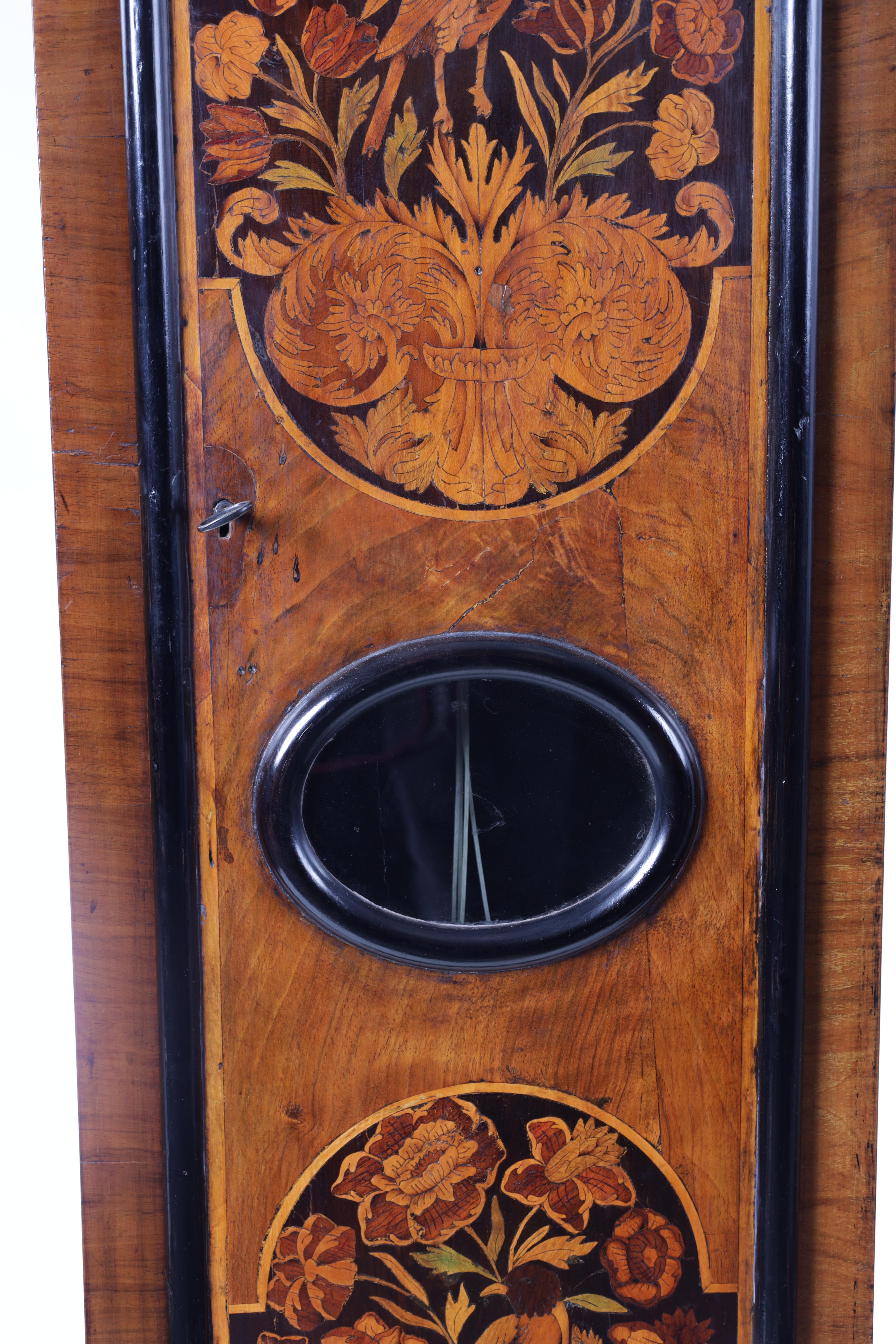 """ROBERT DINGLY, LONDON A LATE 17TH CENTURY 11"""" MARQUETRY INLAID WALNUT LONGCASE CLOCK the hood with - Image 5 of 8"""