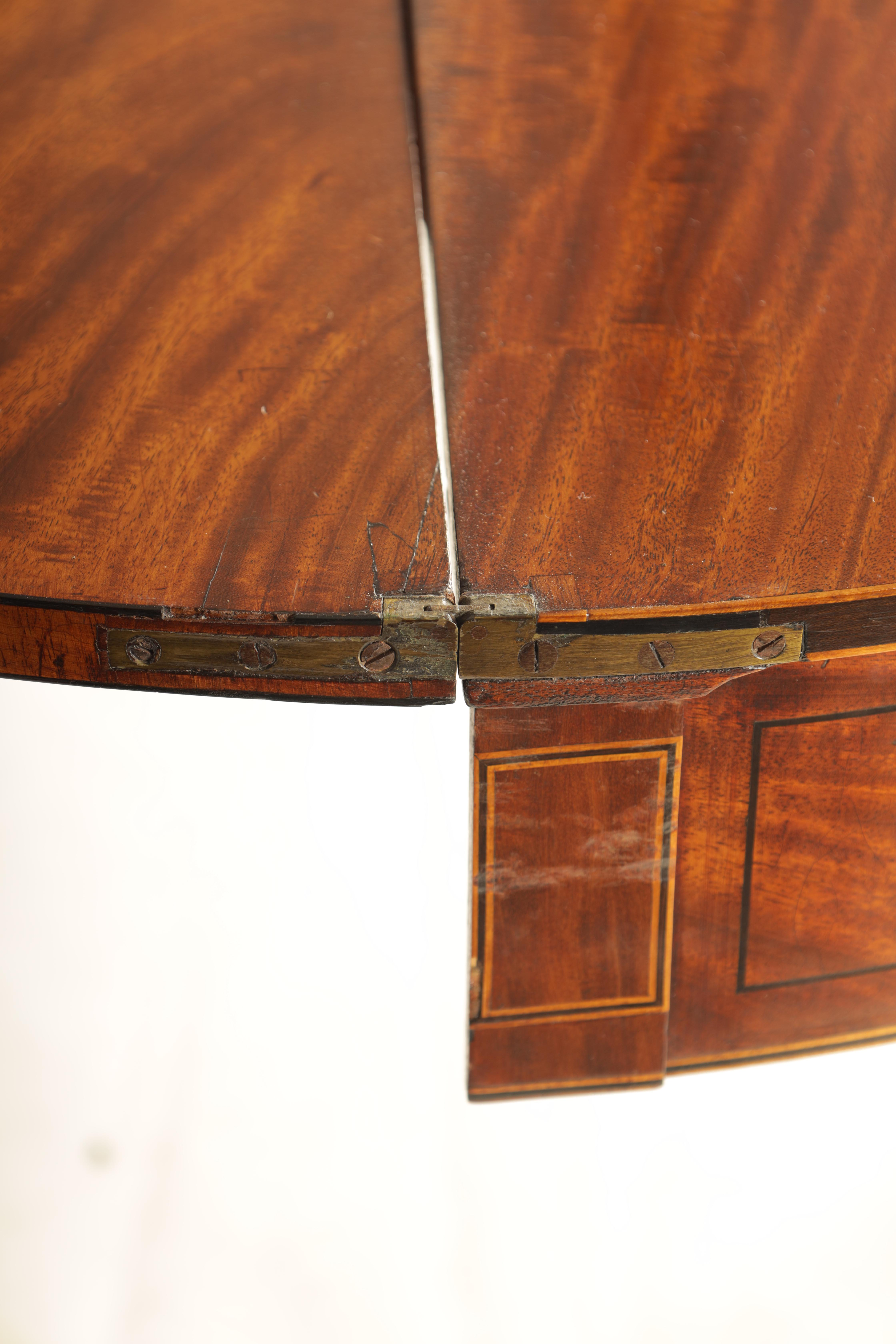 A GEORGE III FIGURED SATINWOOD D END TEA TABLE with hinged top and double gate rear legs; standing - Image 7 of 8