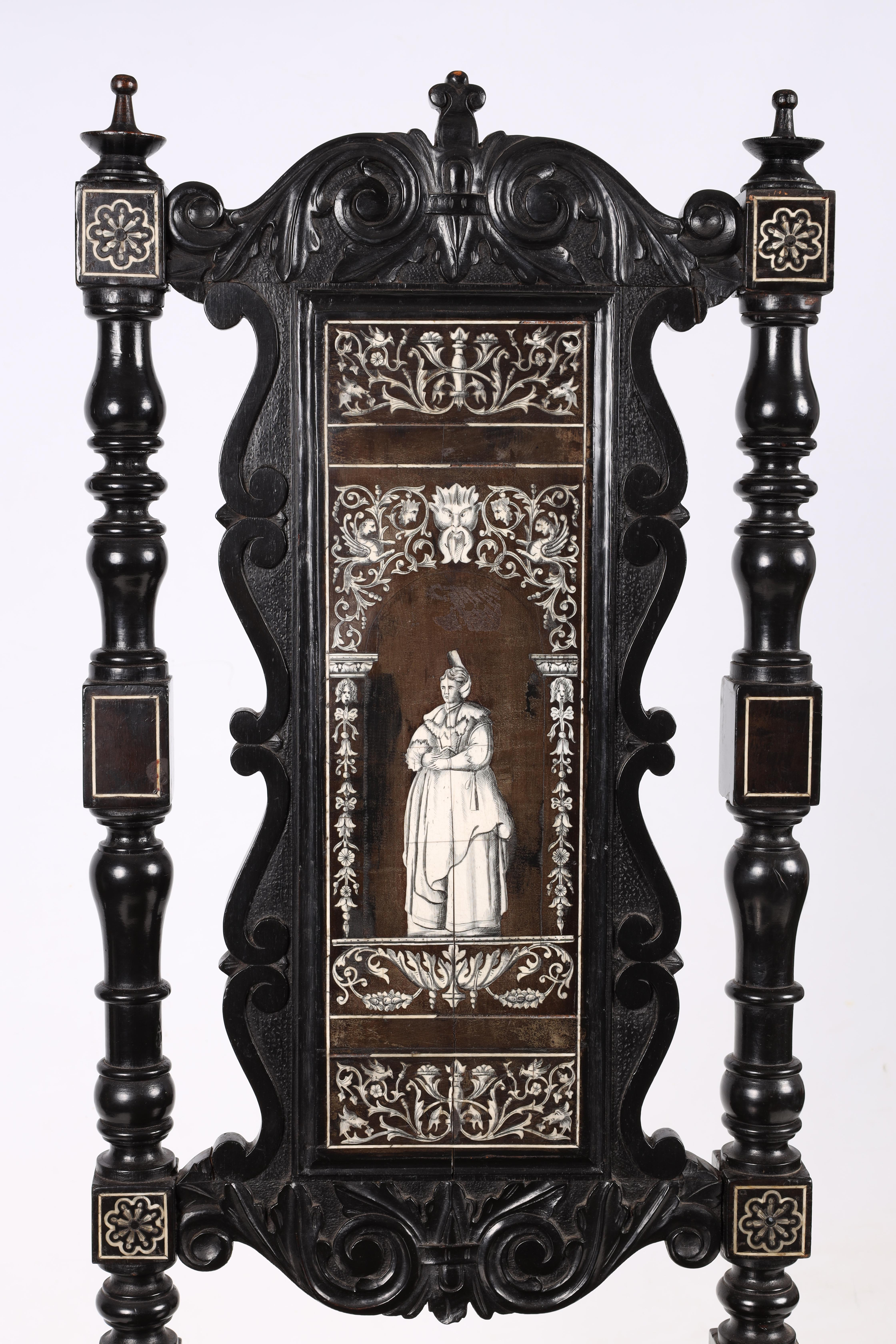 A PAIR OF LATE 19TH CENTURY EBONISED AND BONE INLAID ITALIAN SIDE CHAIRS with finely inlaid - Image 5 of 6