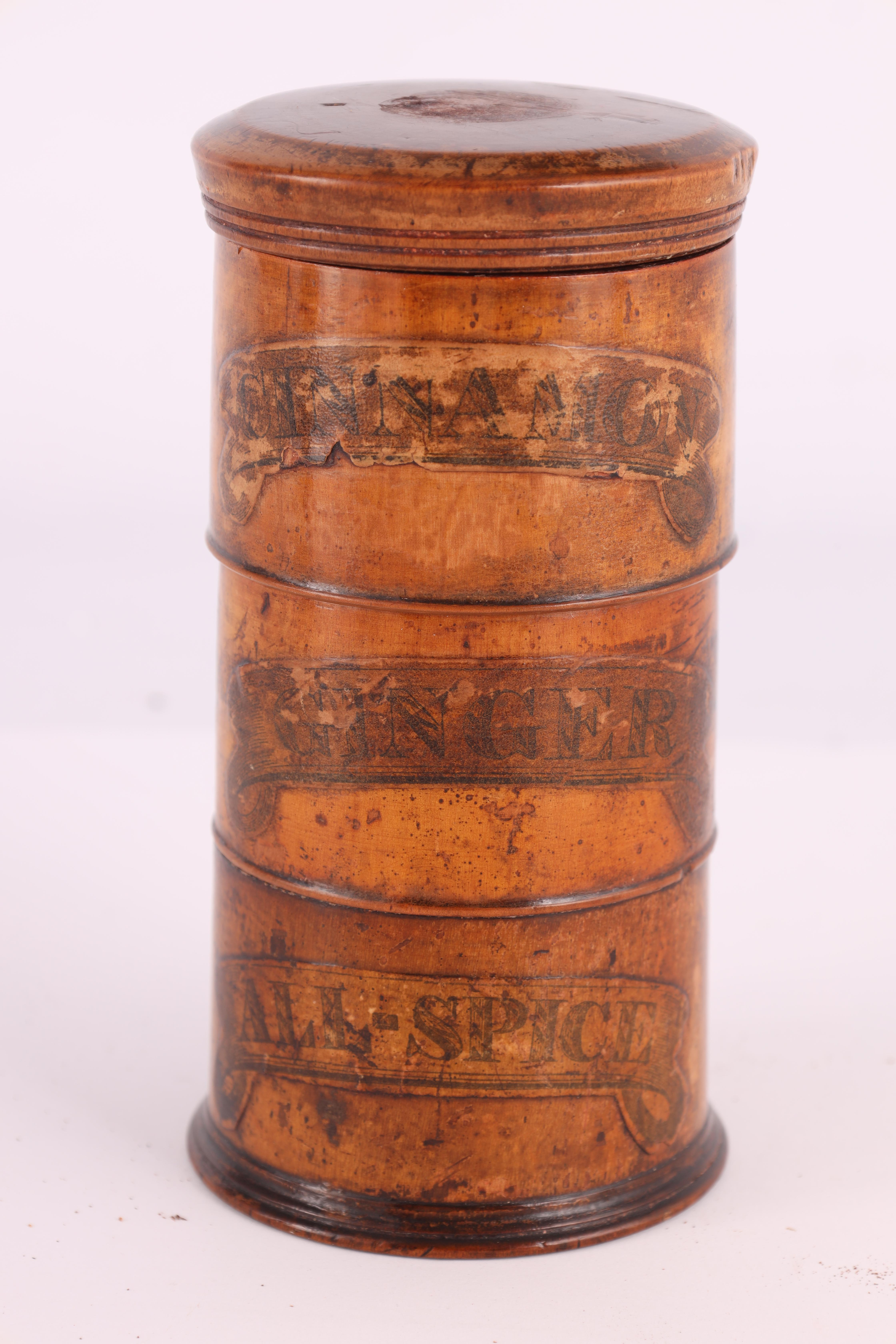 TWO EARLY 19TH CENTURY SYCAMORE TREEN SPICE TOWERS with original labels, the three stack 15cm - Image 7 of 13