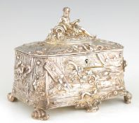 AN UNUSUAL LATE 19TH CENTURY SILVERED BRONZE JEWELLERY CASKET modelled as a rectangular wooden box