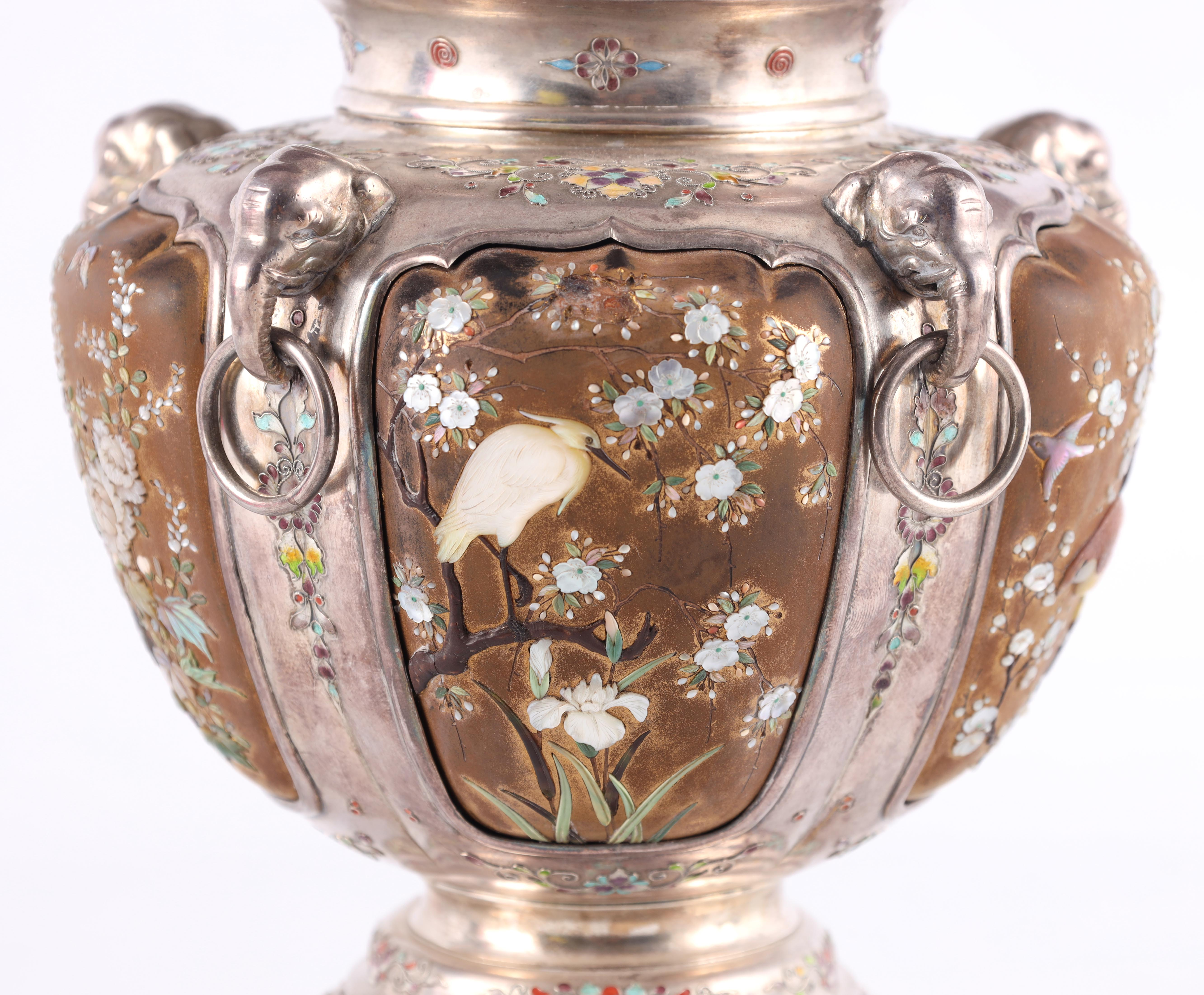 A JAPANESE MEIJI PERIOD SILVER & GOLD LACQUER SHIBAYAMA KORO covered in multicoloured enamels, the - Image 4 of 10