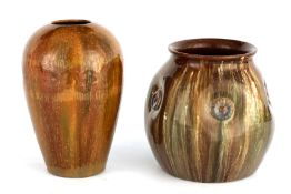 A LATE 19TH CENTURY LINTHORPE ART POTTERY JAR with dimpled raised flowerhead body decorated