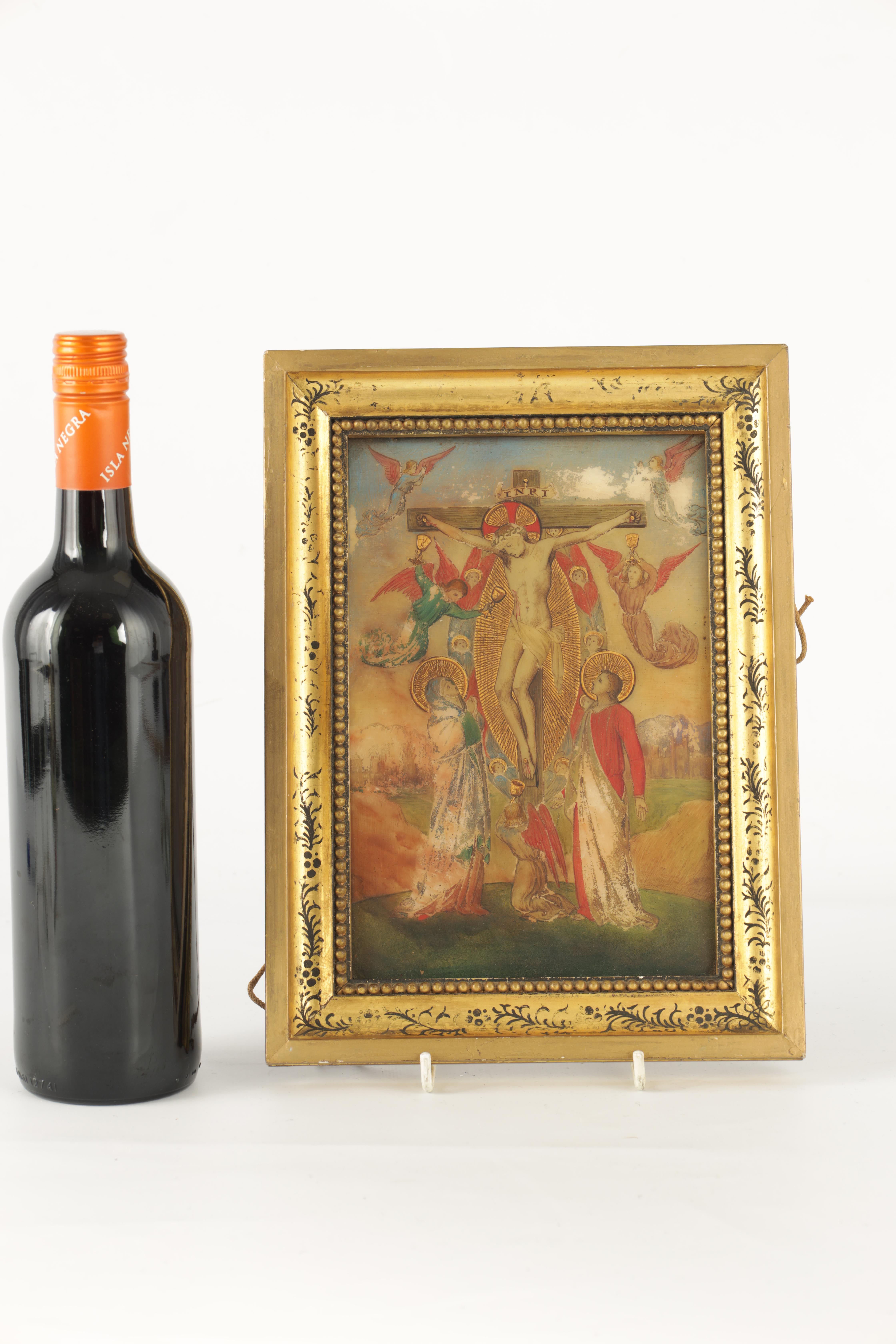 A 19TH CENTURY OIL ON ONYX PANEL.The crucifixion of Christ 22cm high, 14.5cm wide - in gilt - Image 2 of 5