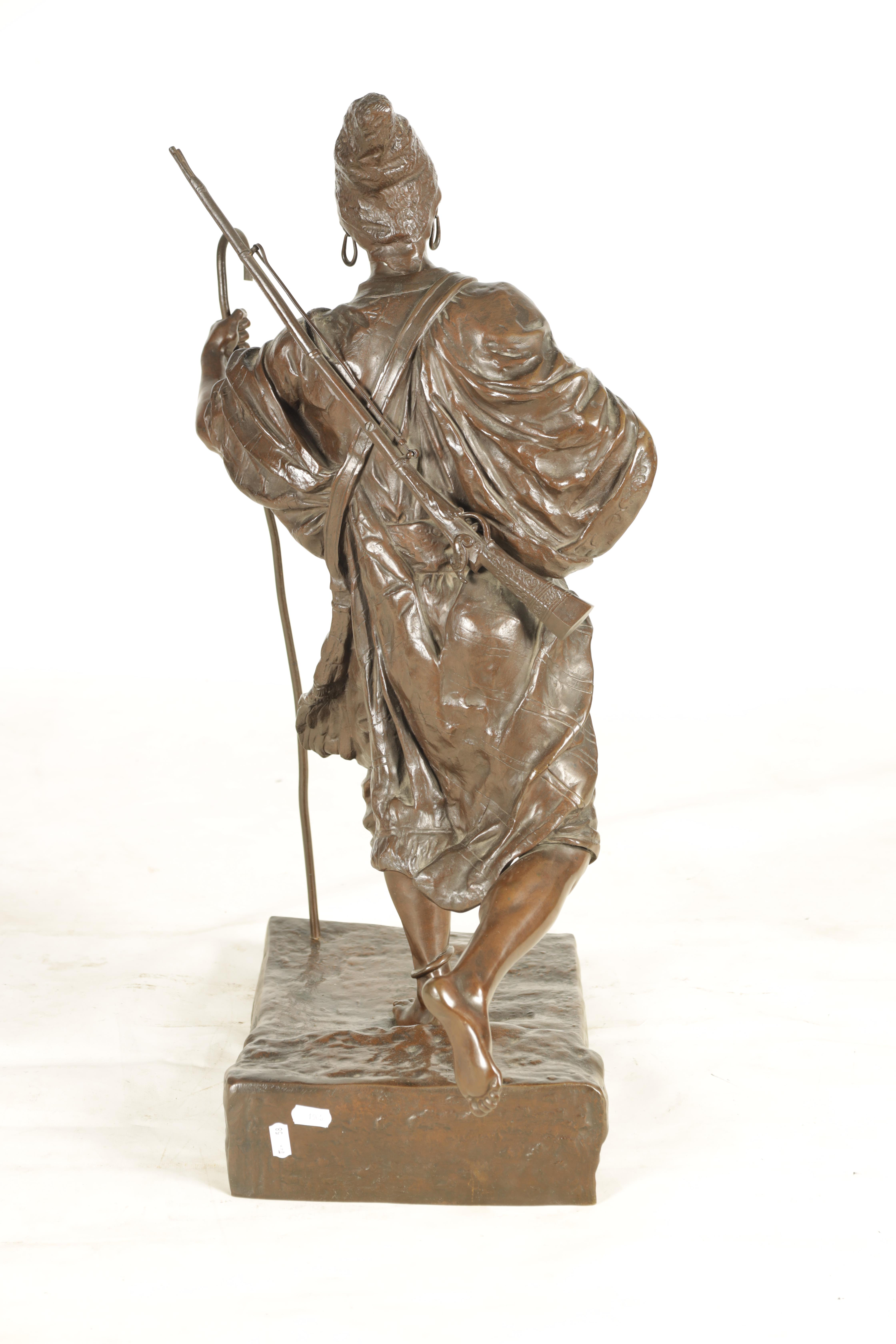 A 19TH CENTURY FRENCH FIGURAL BRONZE depicting an Eastern male figure walking with shepherds crook - Image 5 of 5