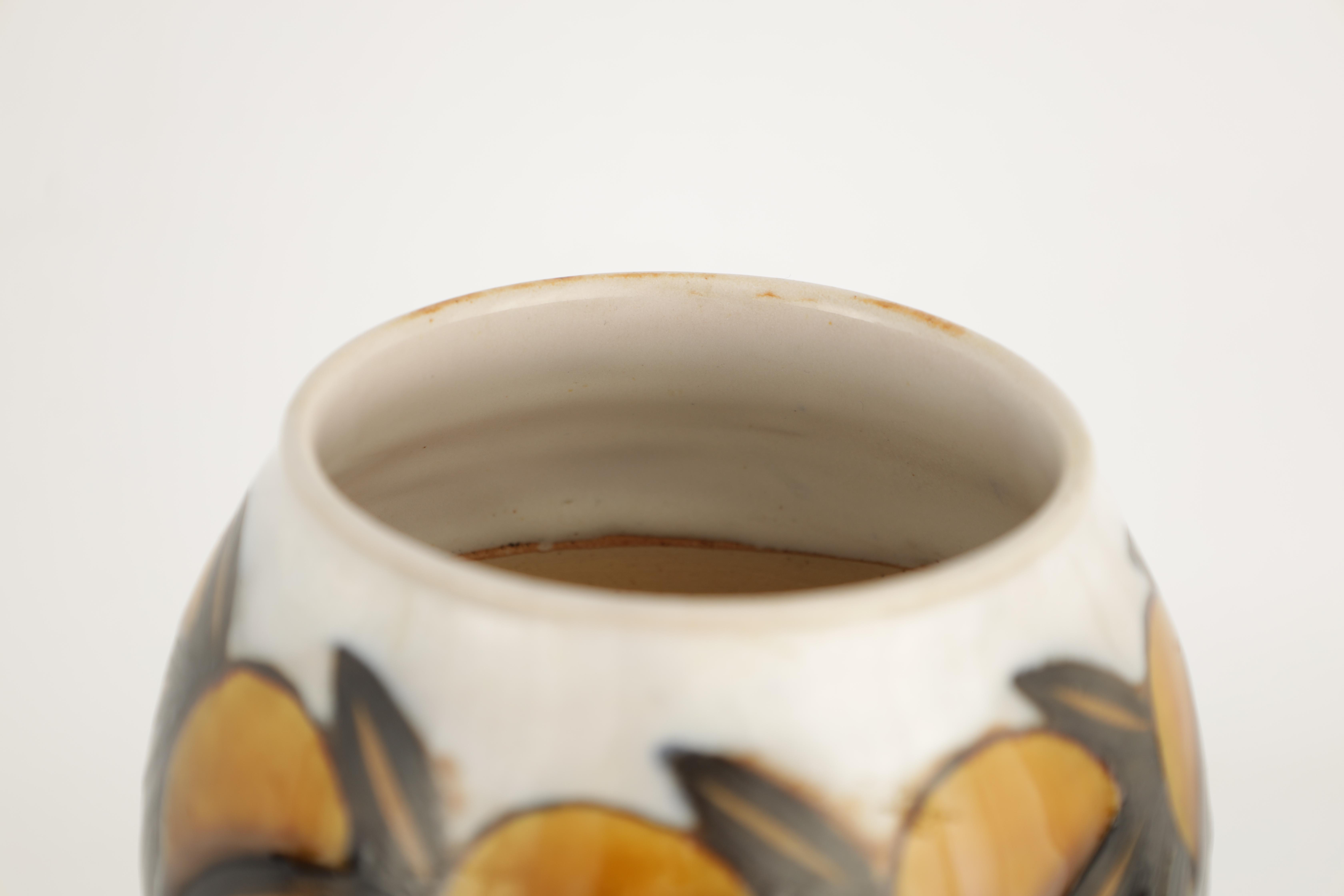 AN UNUSUAL ROYAL DOULTON TAPERED VASE WITH ROUNDED UPPER BODY decorated with designs of fruit and - Image 4 of 7