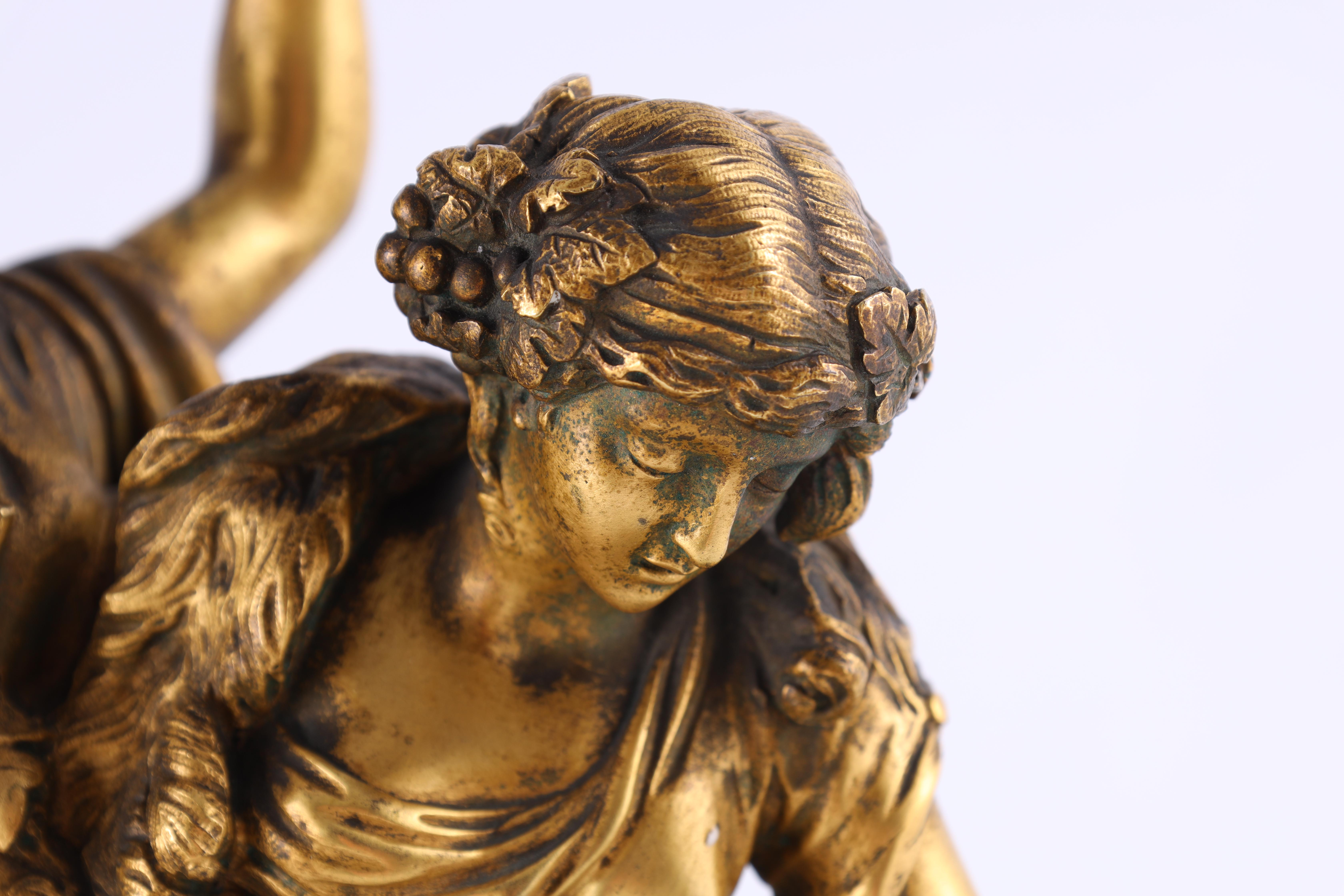 AFTER MICHAEL CLAUDE CLODION A LATE 19TH CENTURY FRENCH GILT BRONZE SCULPTURE titled 'Bacchanalia' - Image 8 of 10