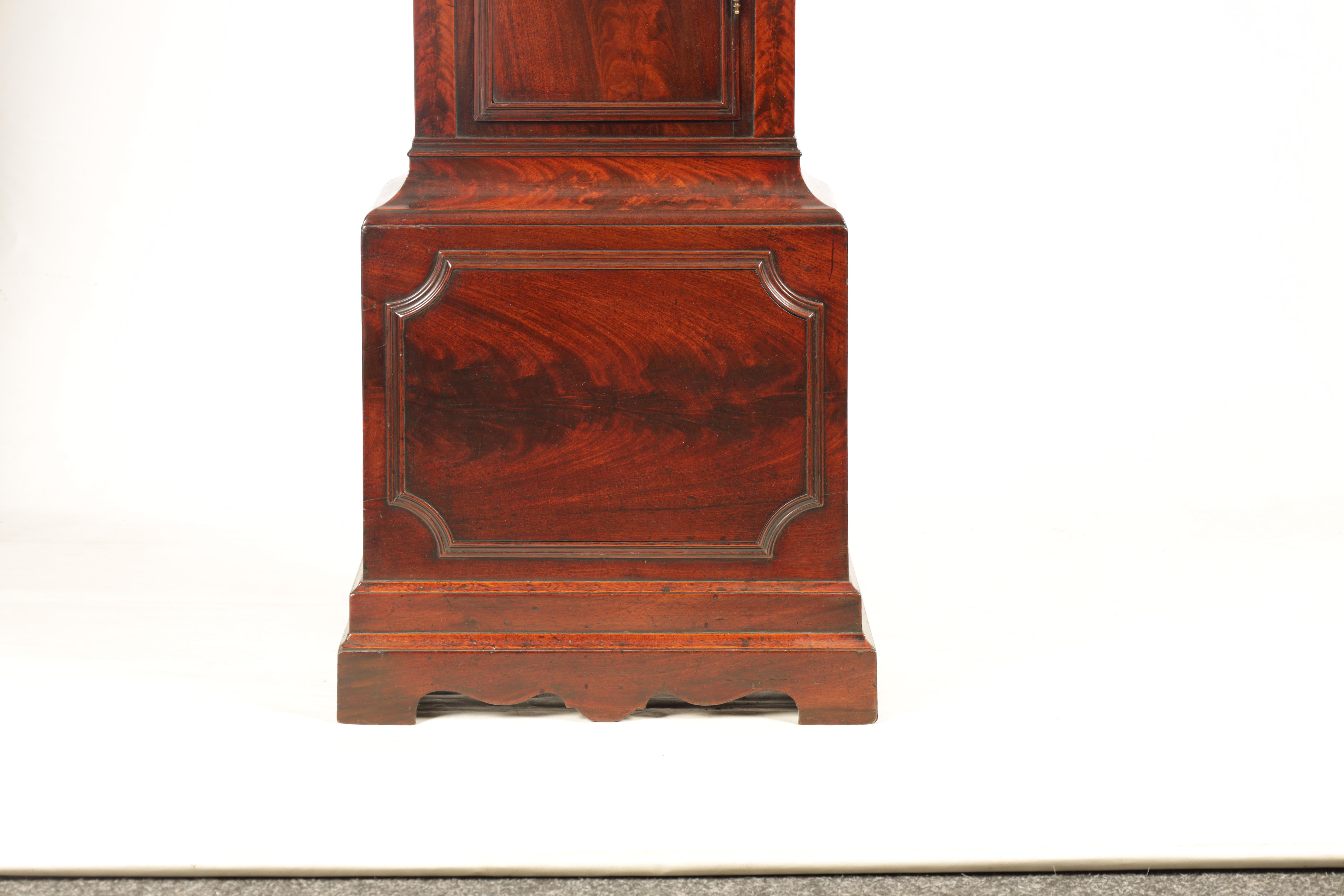 THOMAS RUSSELL, LONDON A GEORGE III FIGURED MAHOGANY LONGCASE CLOCK the arched moulded hood above - Image 2 of 5