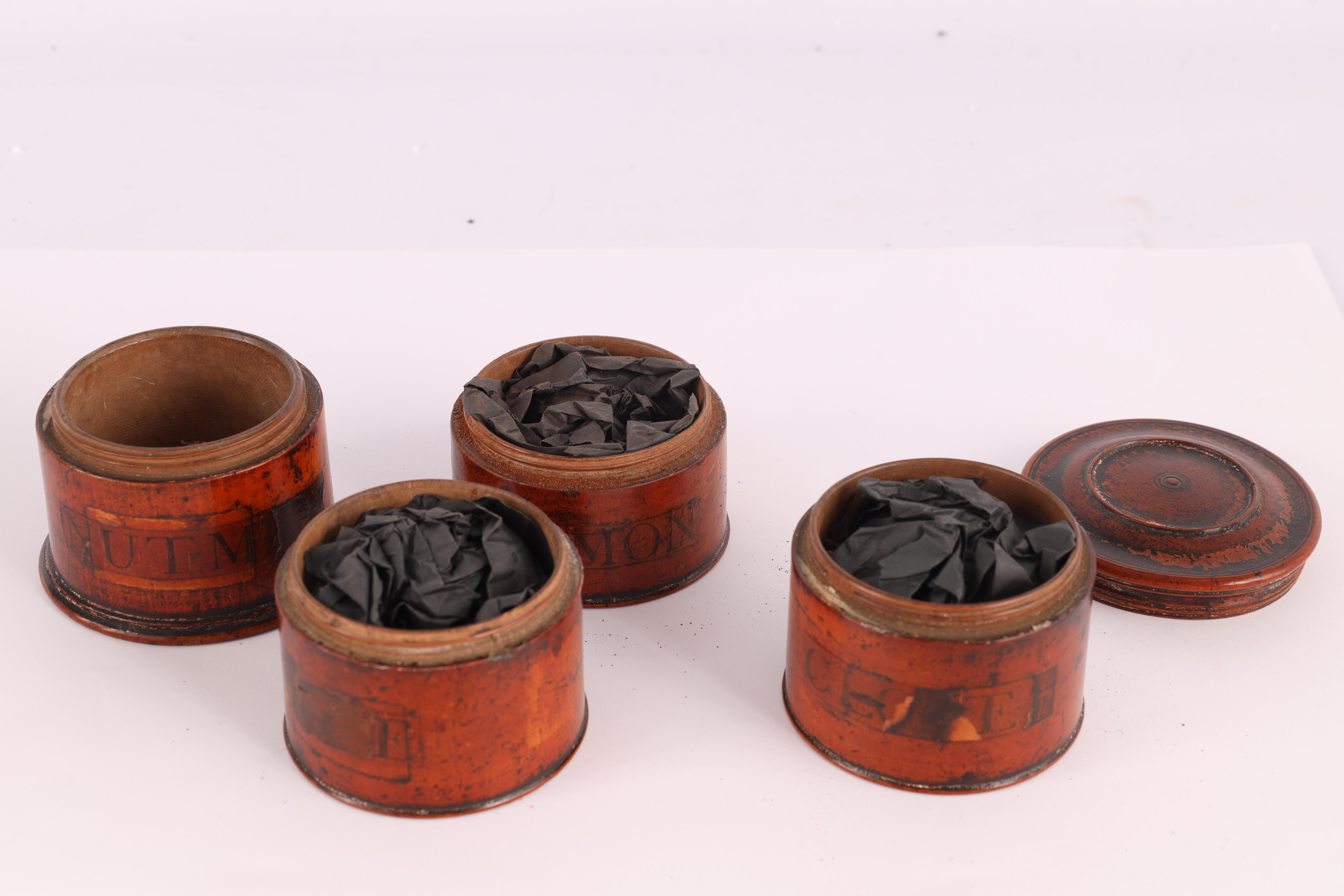 TWO EARLY 19TH CENTURY SYCAMORE TREEN SPICE TOWERS with original labels, the three stack 15cm - Image 5 of 13