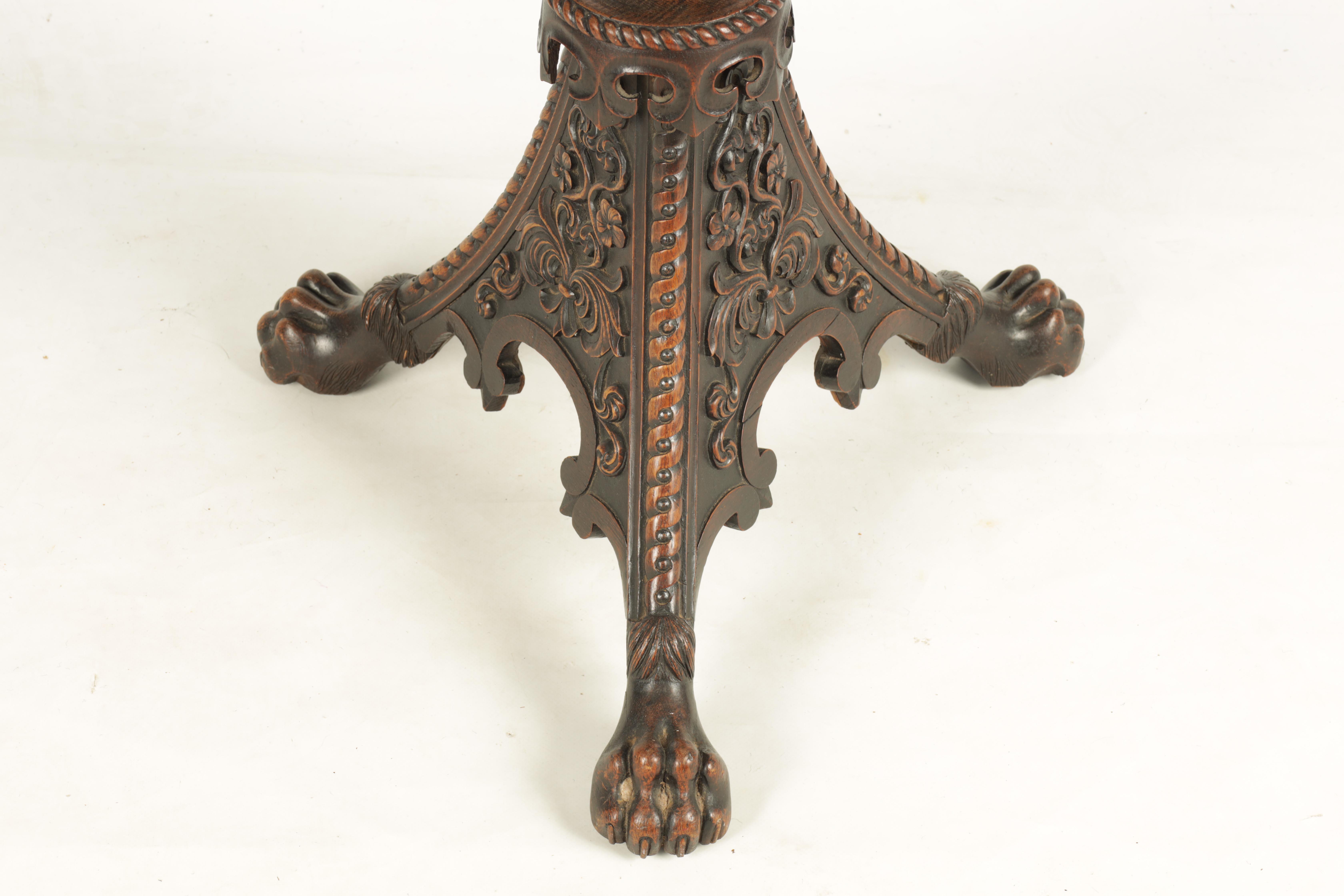 AN UNUSUAL 19TH CENTURY IRISH STYLE POLLARD OAK OCCASIONAL TABLE/ ADJUSTABLE FIRE SCREEN with oak - Image 3 of 8