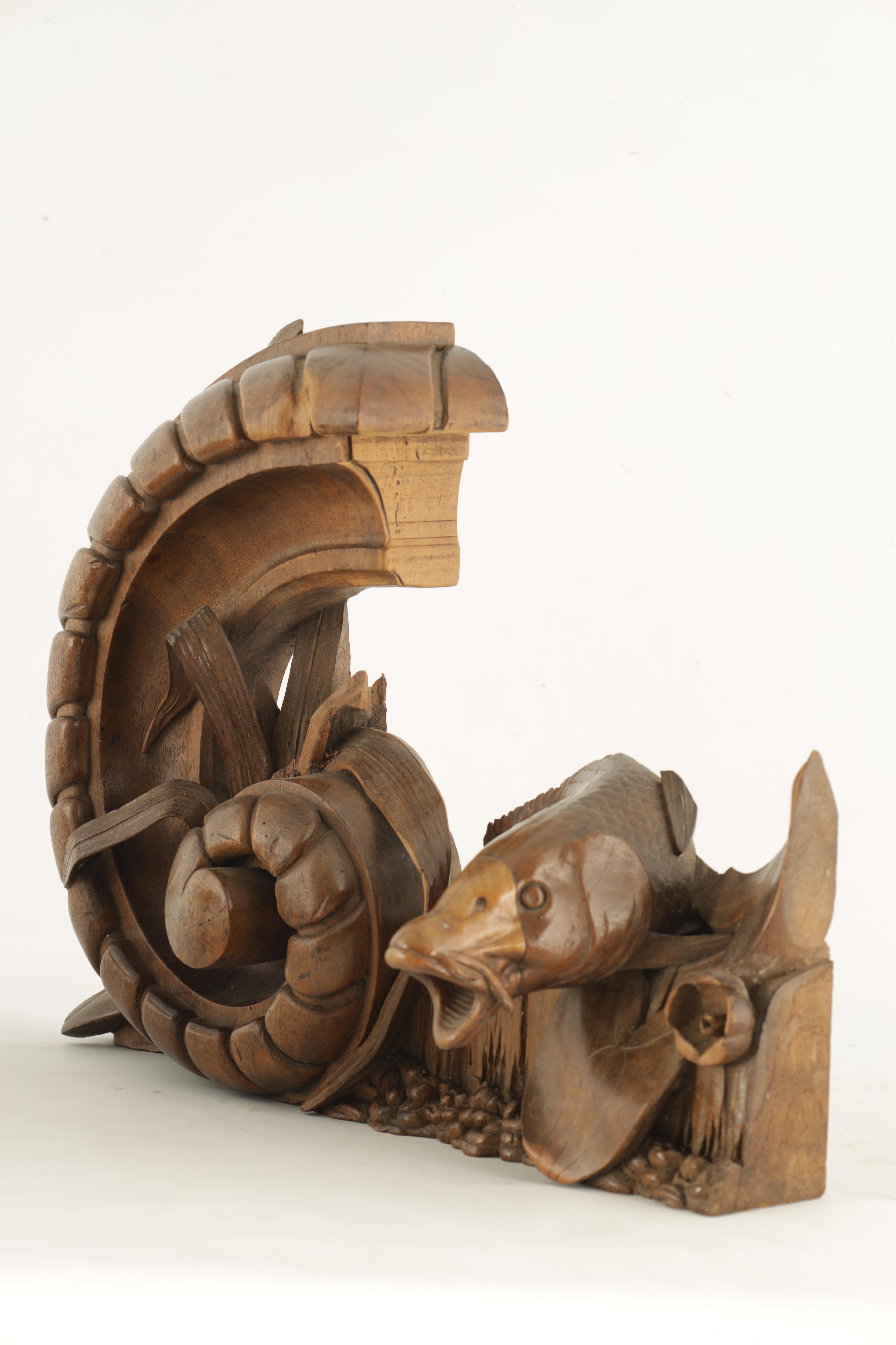 A 19TH CENTURY WALNUT CARVING OF A CARP next to a gadrooned scroll with reeds 49cm wide 38cm high - Image 4 of 6