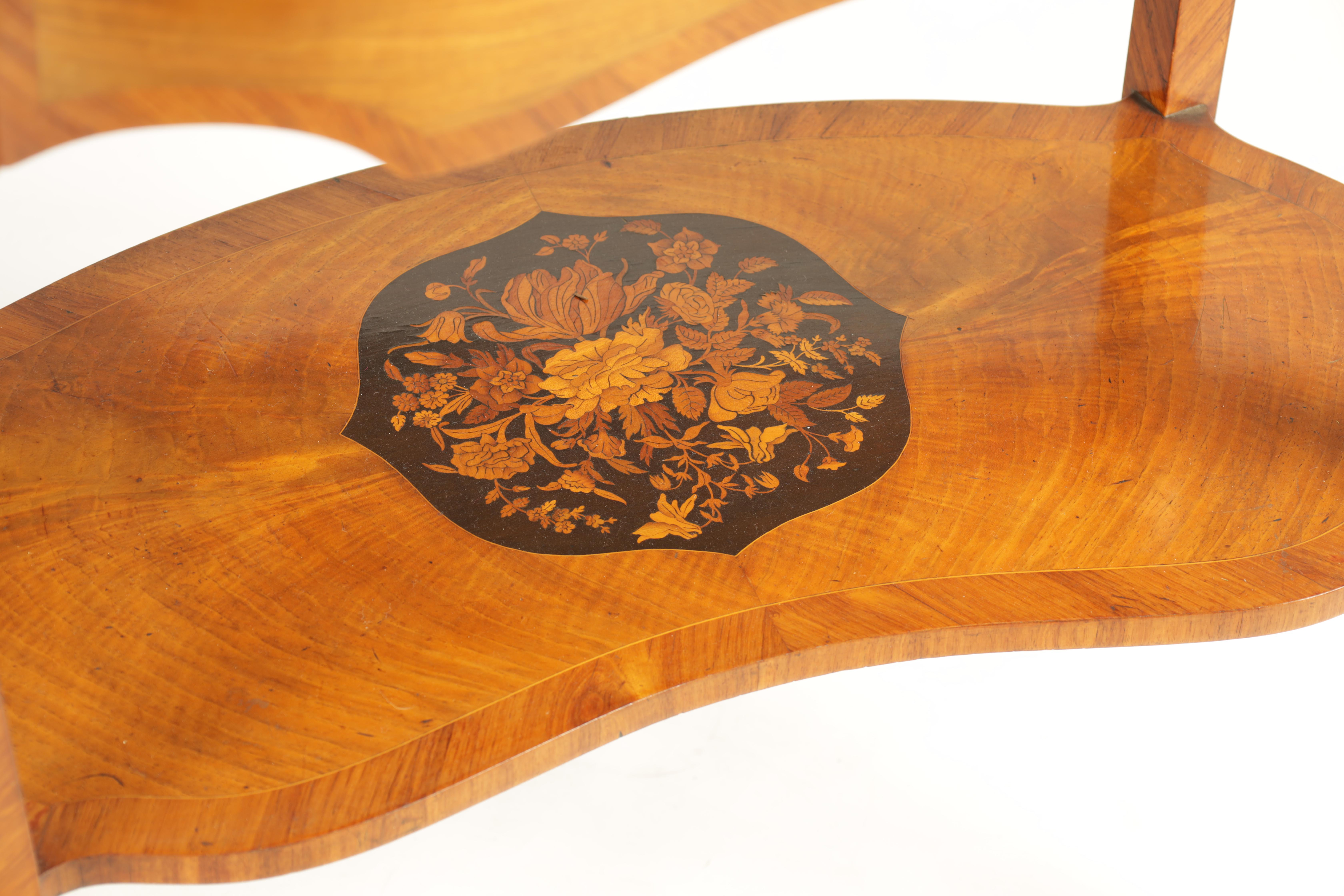 A FINE 19TH CENTURY MARQUETRY INLAID WALNUT KIDNEY SHAPED WRITING TABLE with raised brass - Image 3 of 10