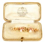 A LADIES 9CT GOLD BAR BROOCH modelled as two bees on a honey comb with flowerheads 5.3cm wide,