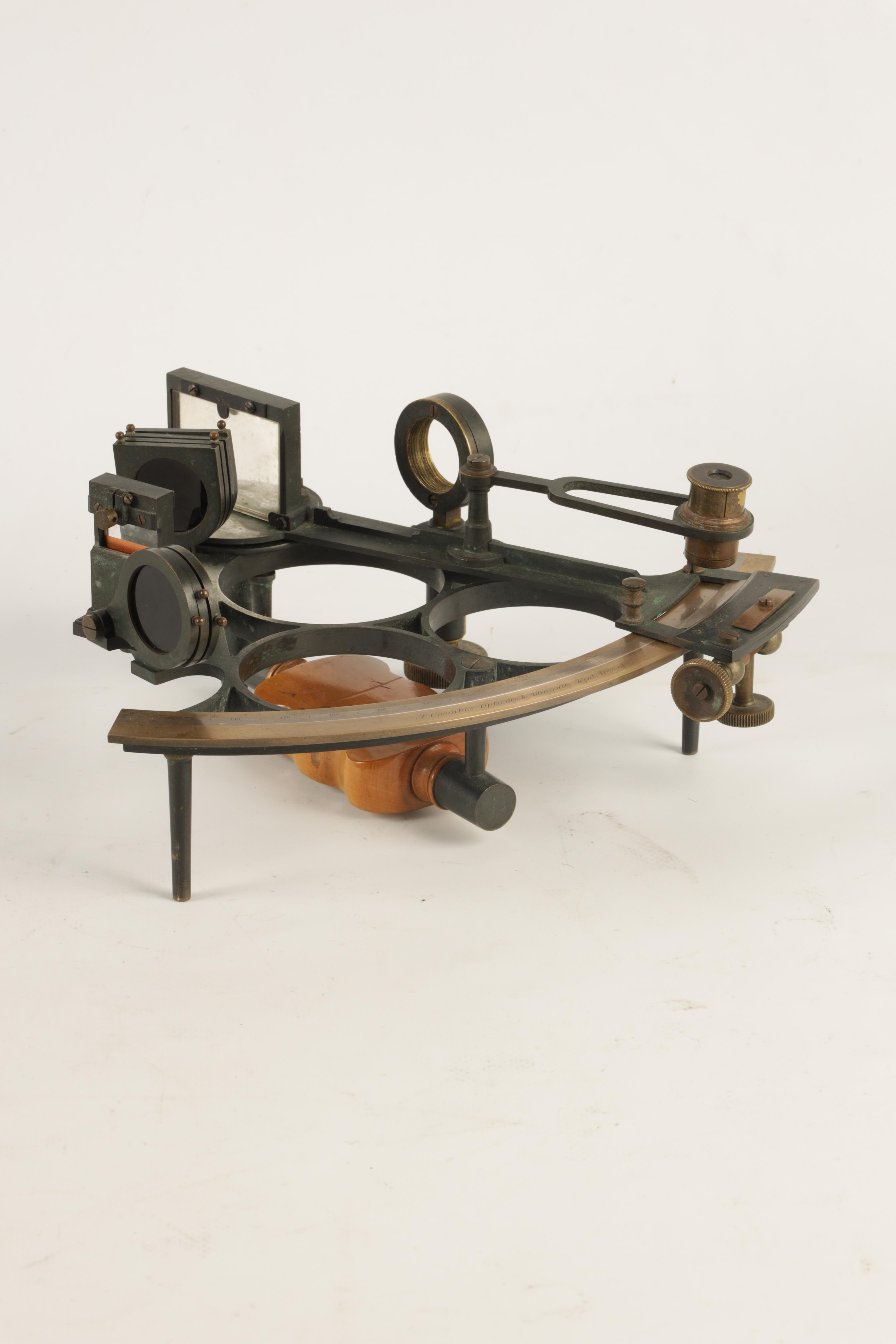 J. COOMBES, OPTICIAN & ADMIRALTY AGENT, DEVONPORT. A LATE 19TH CENTURY BRASS FRAMED SEXTANT IN - Image 2 of 17