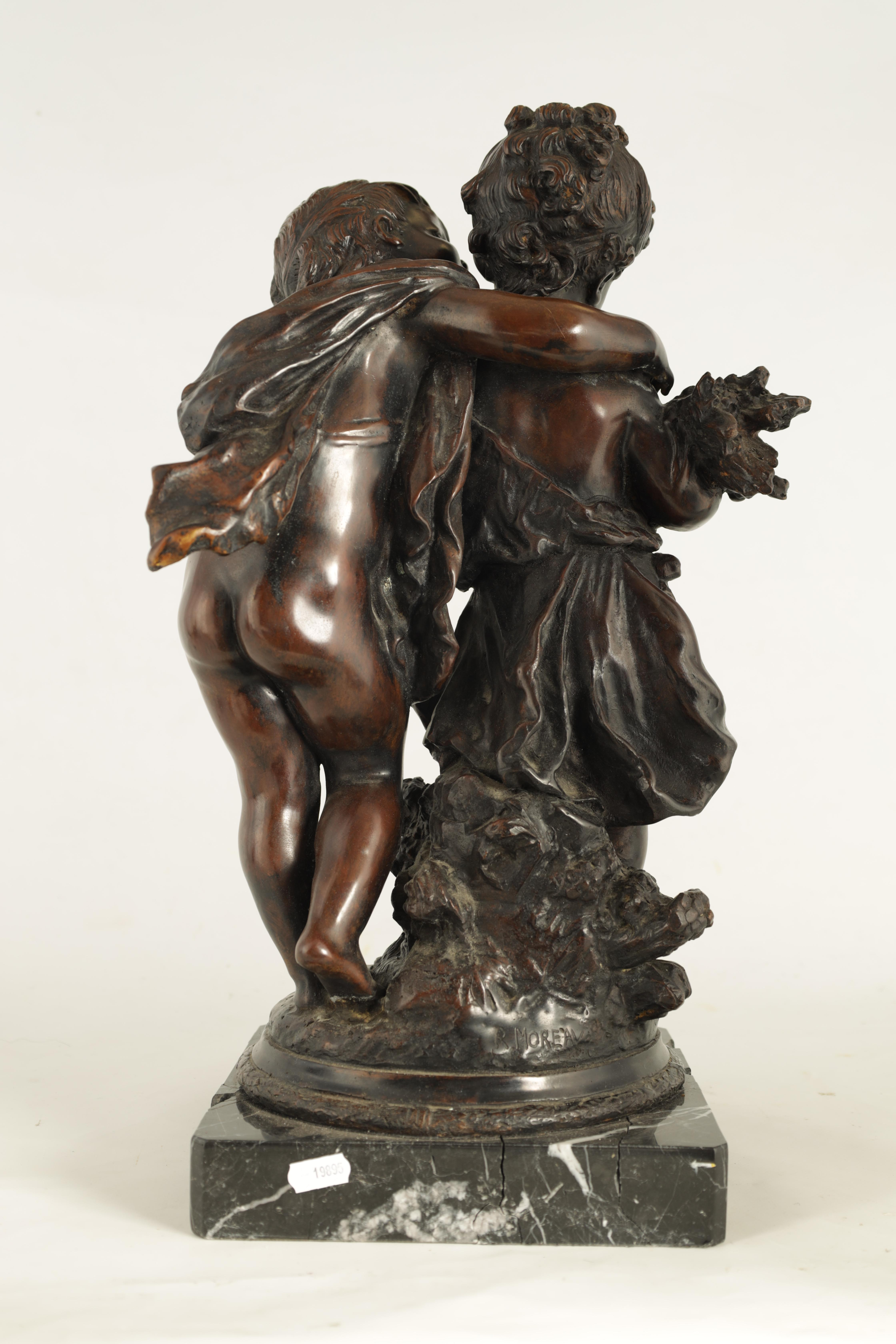 A 19TH CENTURY STYLE FRENCH BRONZE FIGURE GROUP depicting a young male and female -signed R.MOREAV - - Image 6 of 9