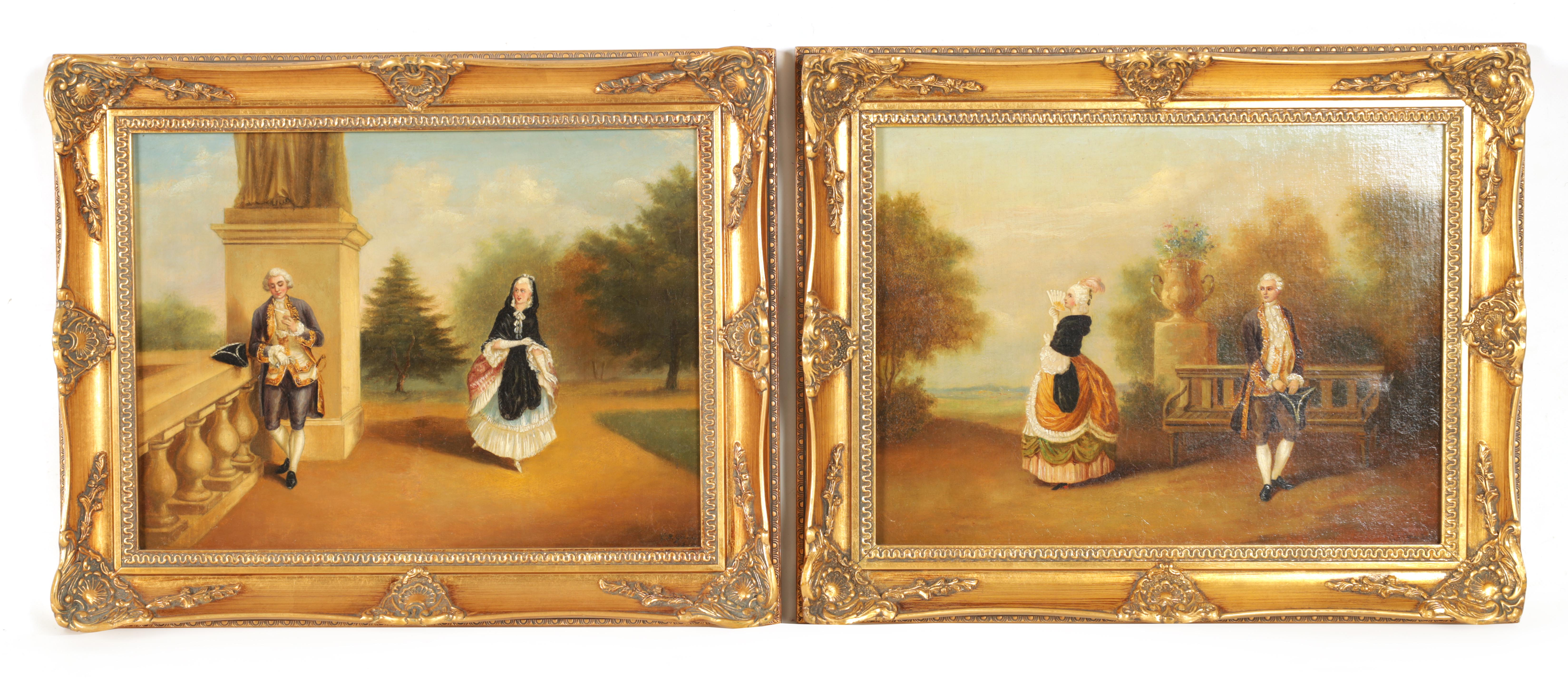 ERNEST GUSTAVE GIRARDOT (1840-1904) A PAIR OF OILS ON CANVAS romantic classical garden scenes with