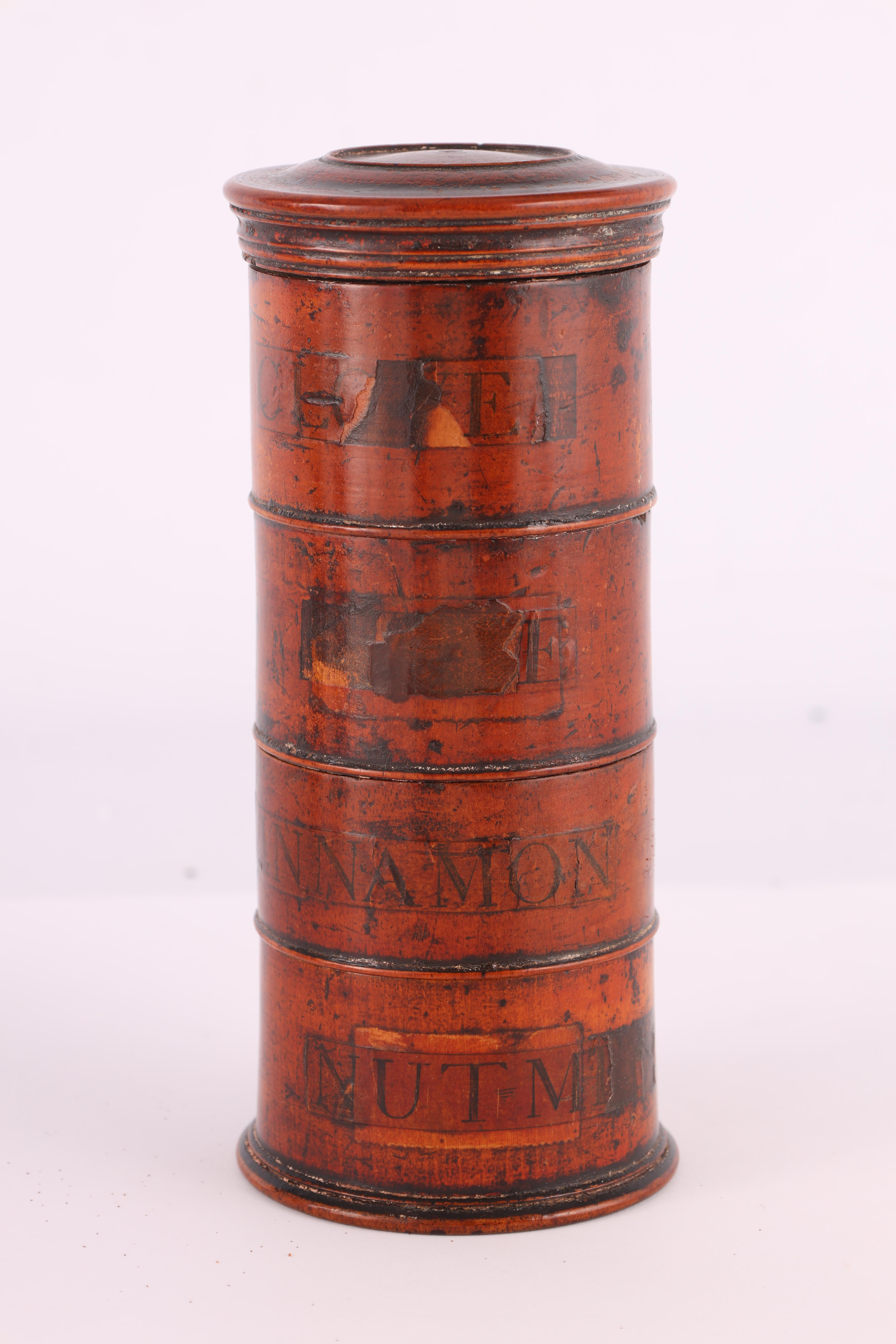 TWO EARLY 19TH CENTURY SYCAMORE TREEN SPICE TOWERS with original labels, the three stack 15cm - Image 2 of 13
