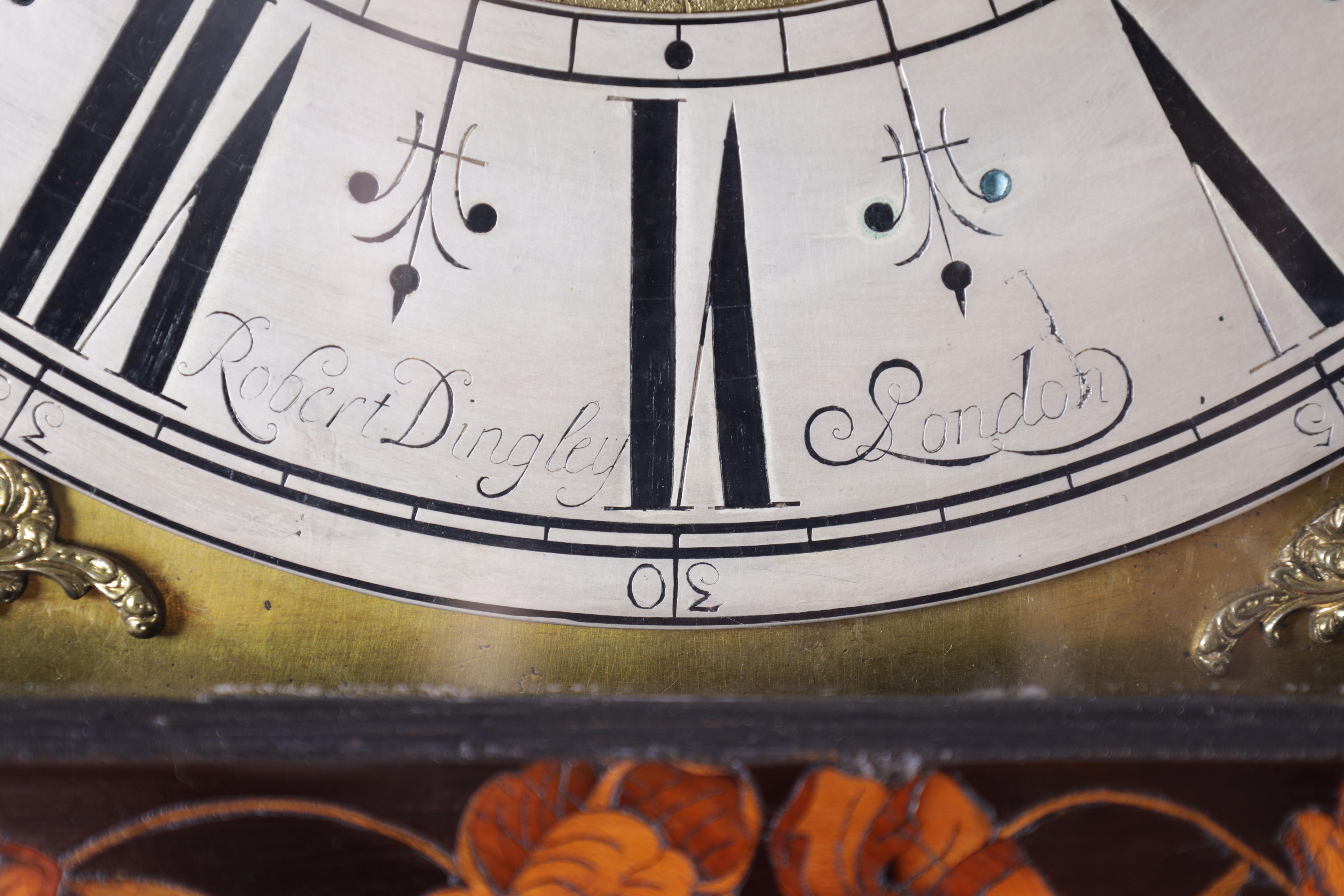 """ROBERT DINGLY, LONDON A LATE 17TH CENTURY 11"""" MARQUETRY INLAID WALNUT LONGCASE CLOCK the hood with - Image 7 of 8"""
