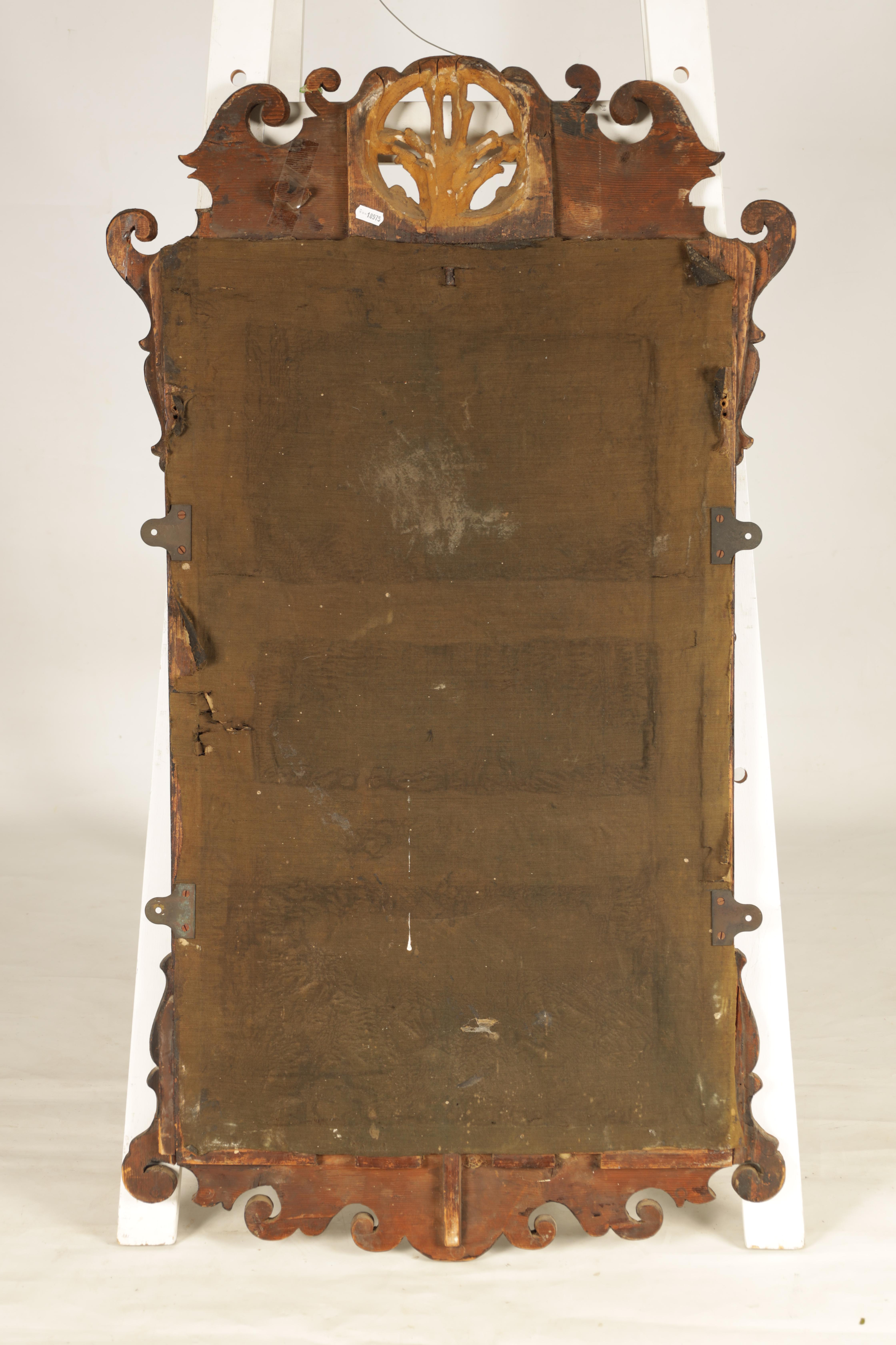 AN 18TH CENTURY WALNUT PIER MIRROR with shaped scrolled frame and gilt carved rococo pediment, the - Image 5 of 5