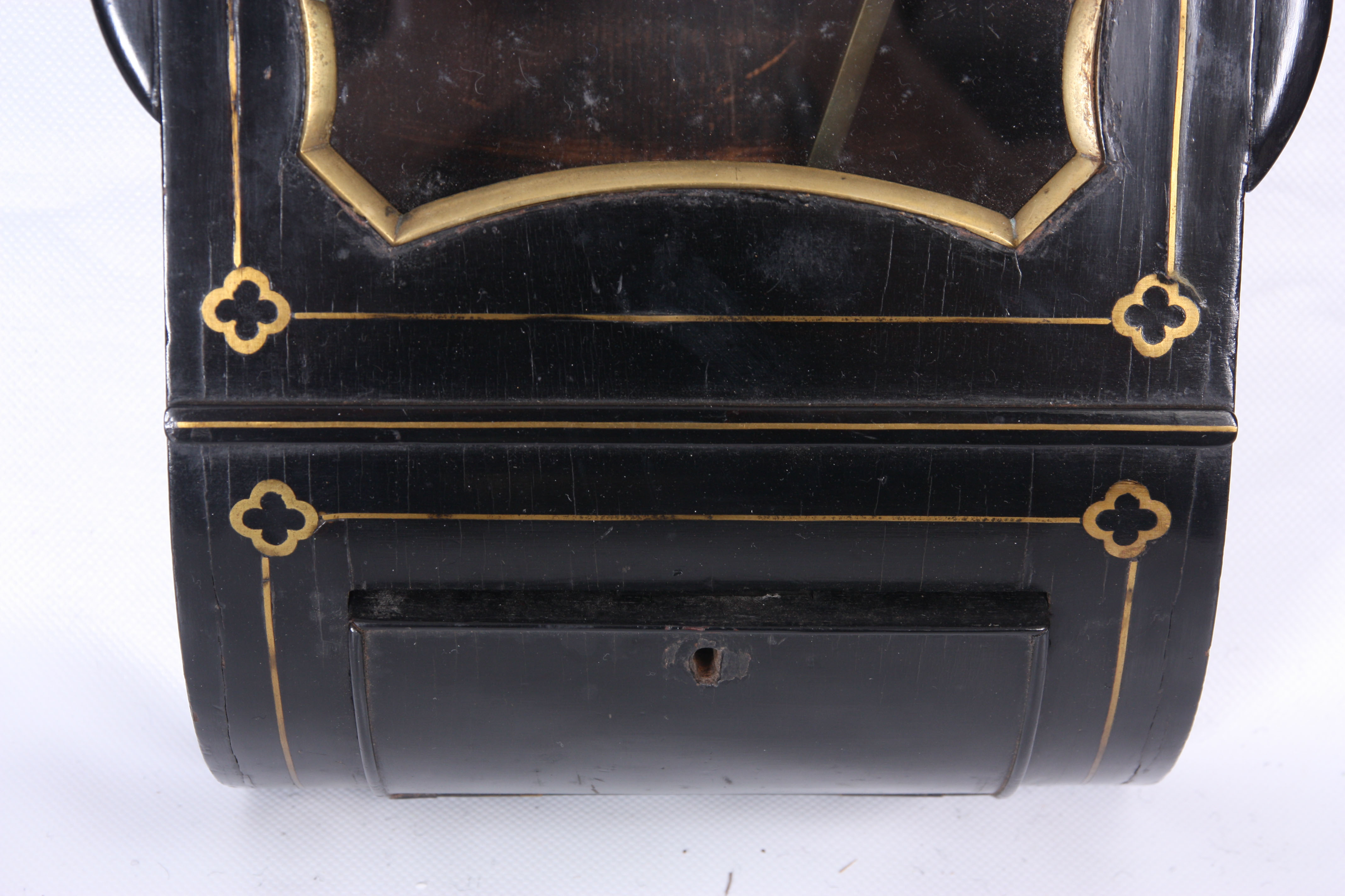 ROSSI, NORWICH A REGENCY EBONISED DOUBLE FUSEE WALL CLOCK with octagonal brass inlaid surround on - Image 5 of 5