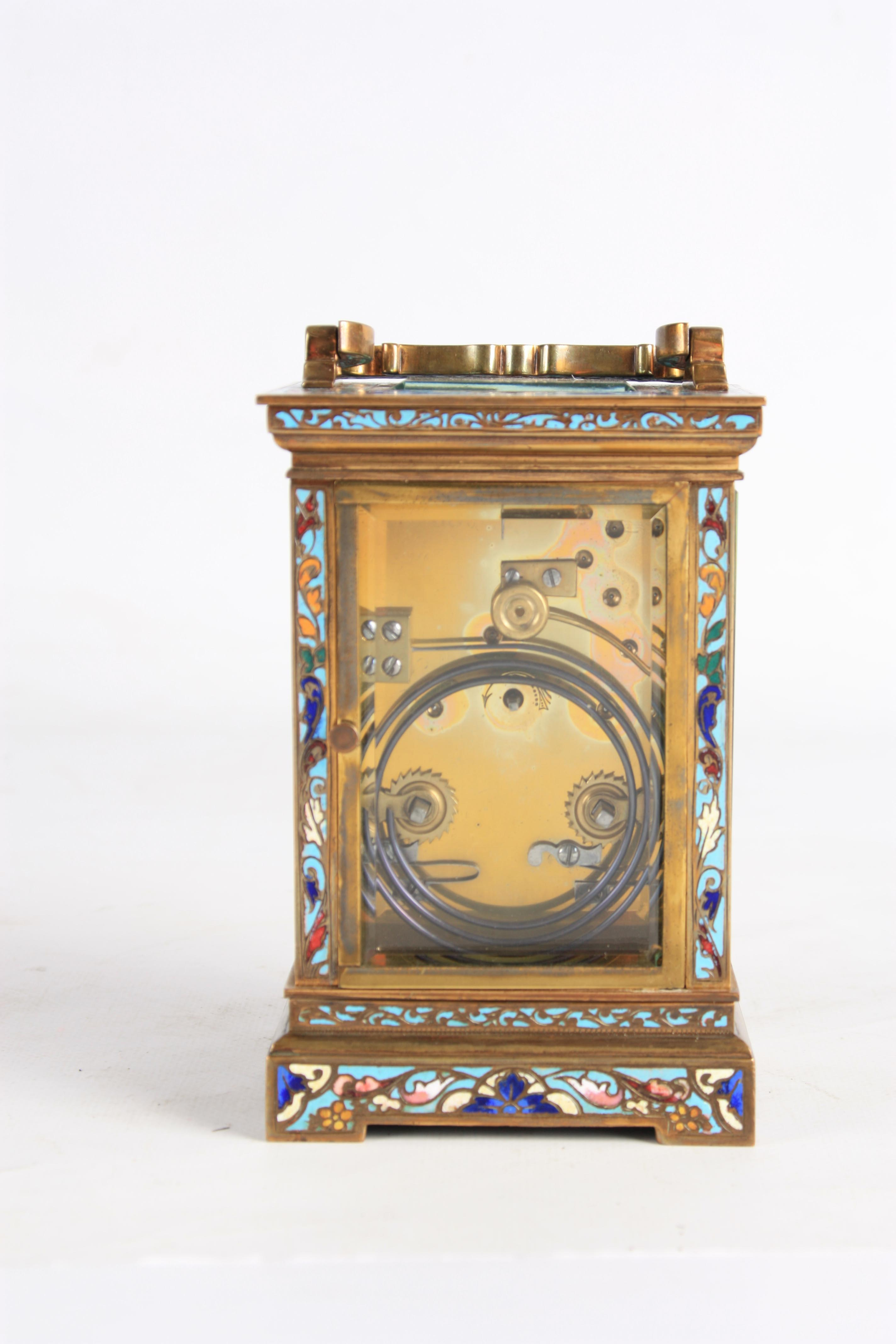 A LATE 19TH CENTURY FRENCH CHAMPLEVE ENAMEL STRIKING CARRIAGE CLOCK the case covered in champleve - Image 5 of 6
