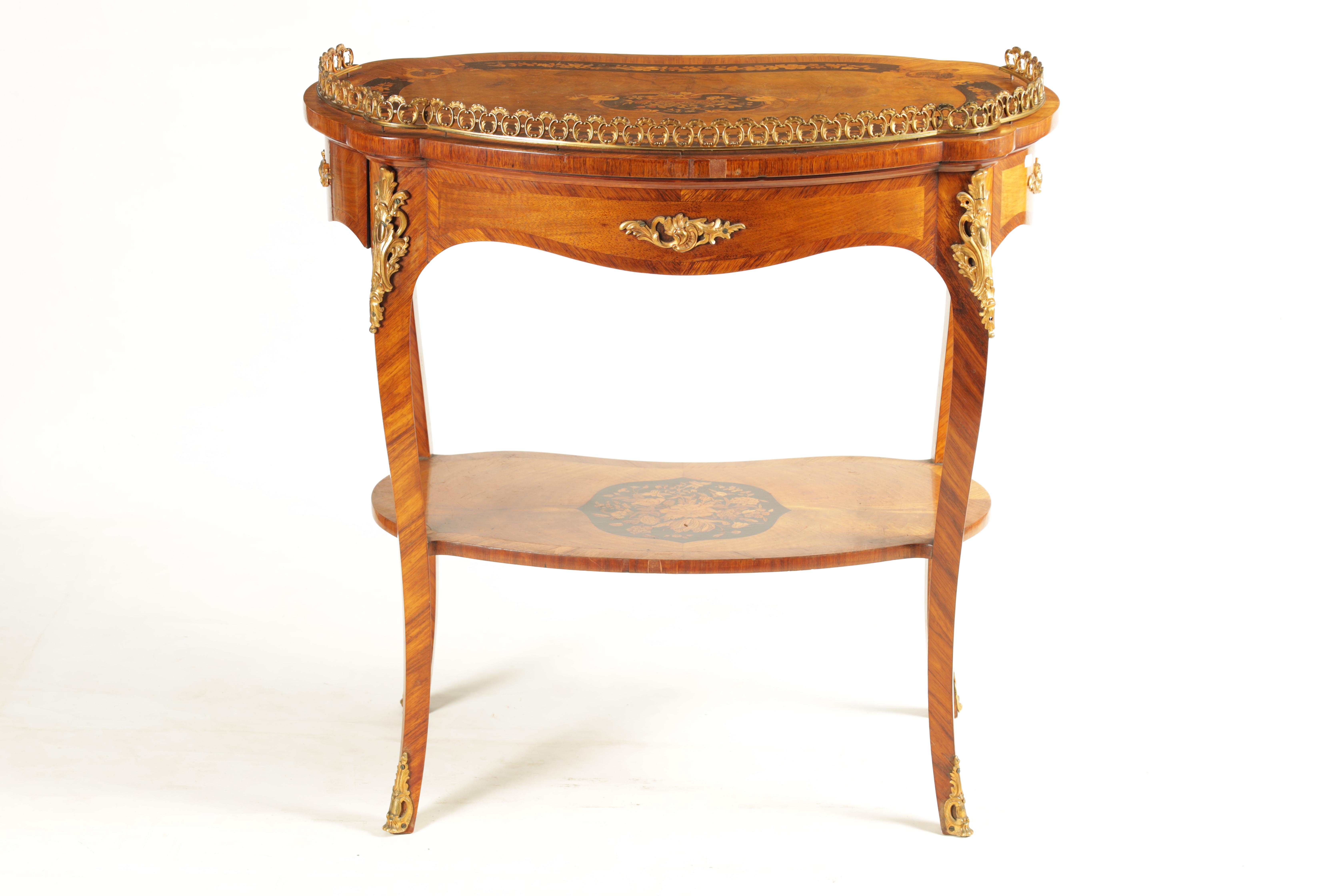 A FINE 19TH CENTURY MARQUETRY INLAID WALNUT KIDNEY SHAPED WRITING TABLE with raised brass - Image 10 of 10