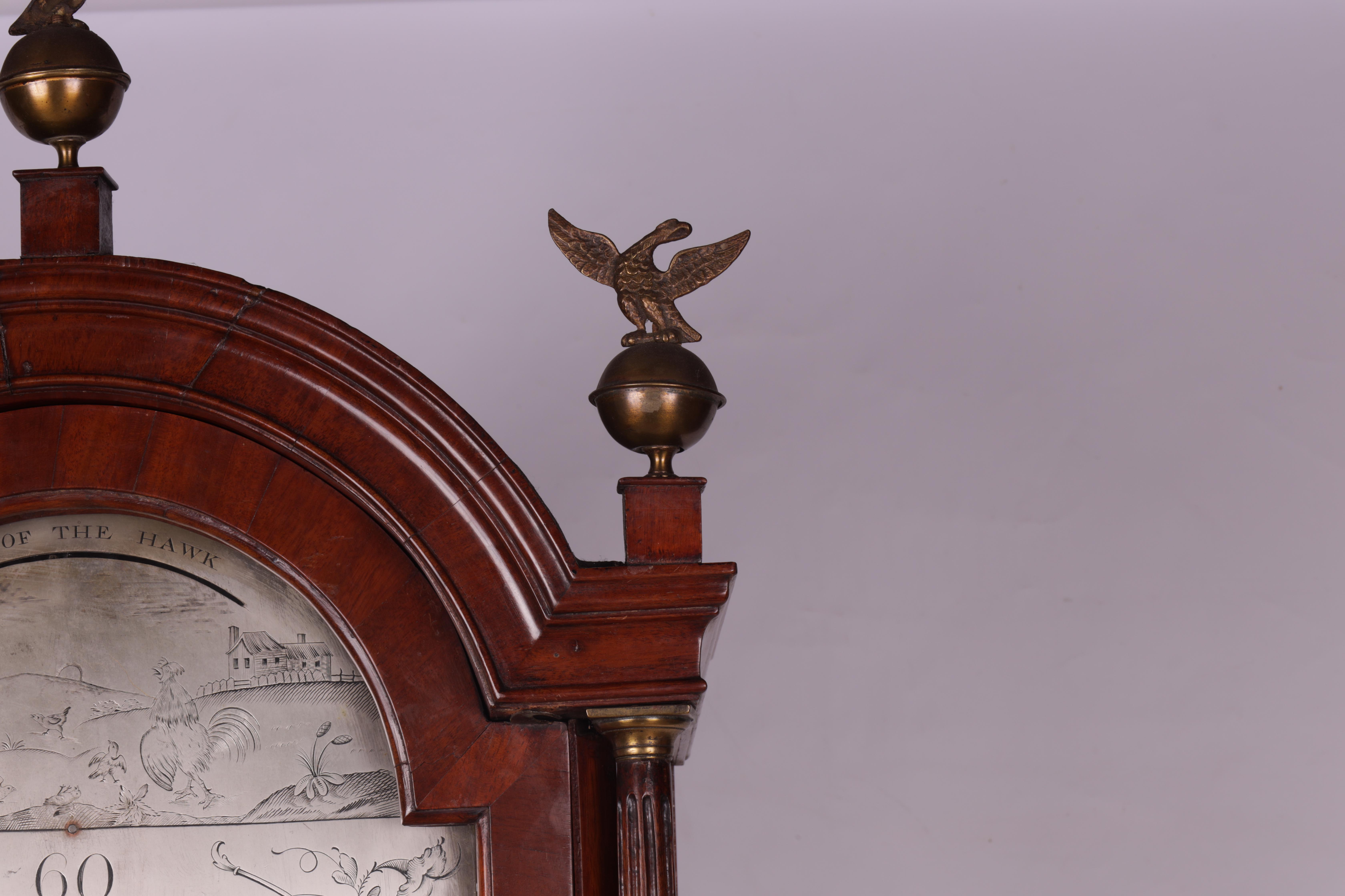 "THOMAS OLIVER MARTOCK A LATE 18TH CENTURY MAHOGANY 8-DAY AUTOMATON LONGCASE CLOCK the 12"" silvered - Image 4 of 8"