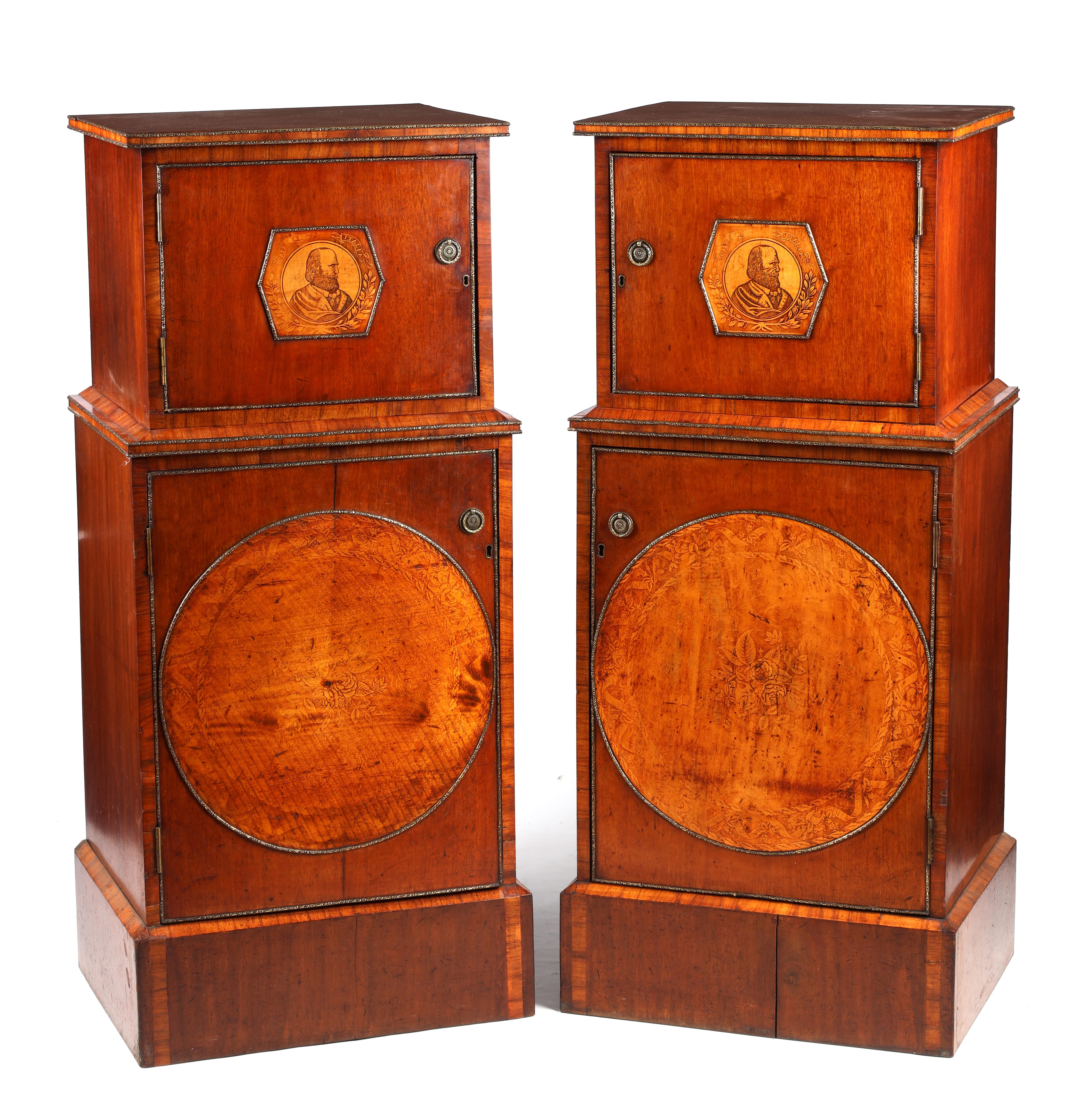 A LARGE PAIR OF GEORGE III KINGWOOD BANDED MAHOGANY PEDESTALS with unusual pen work panels depicting - Image 2 of 11