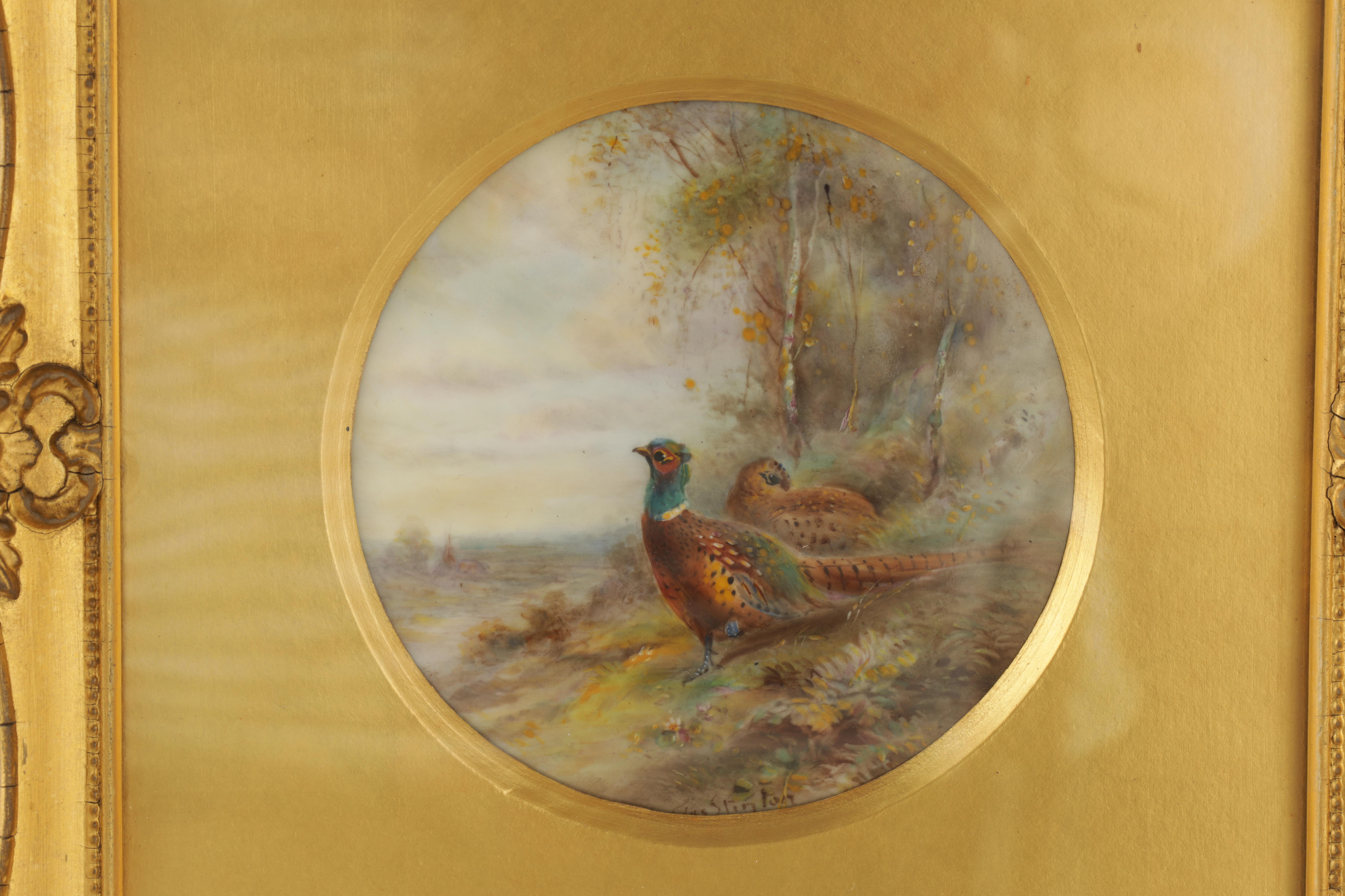 JAMES STINTON 1870-1961. A SIGNED PAIR OF ROYAL WORCESTER CIRCULAR PORCELAIN PLAQUES painted with - Image 3 of 8