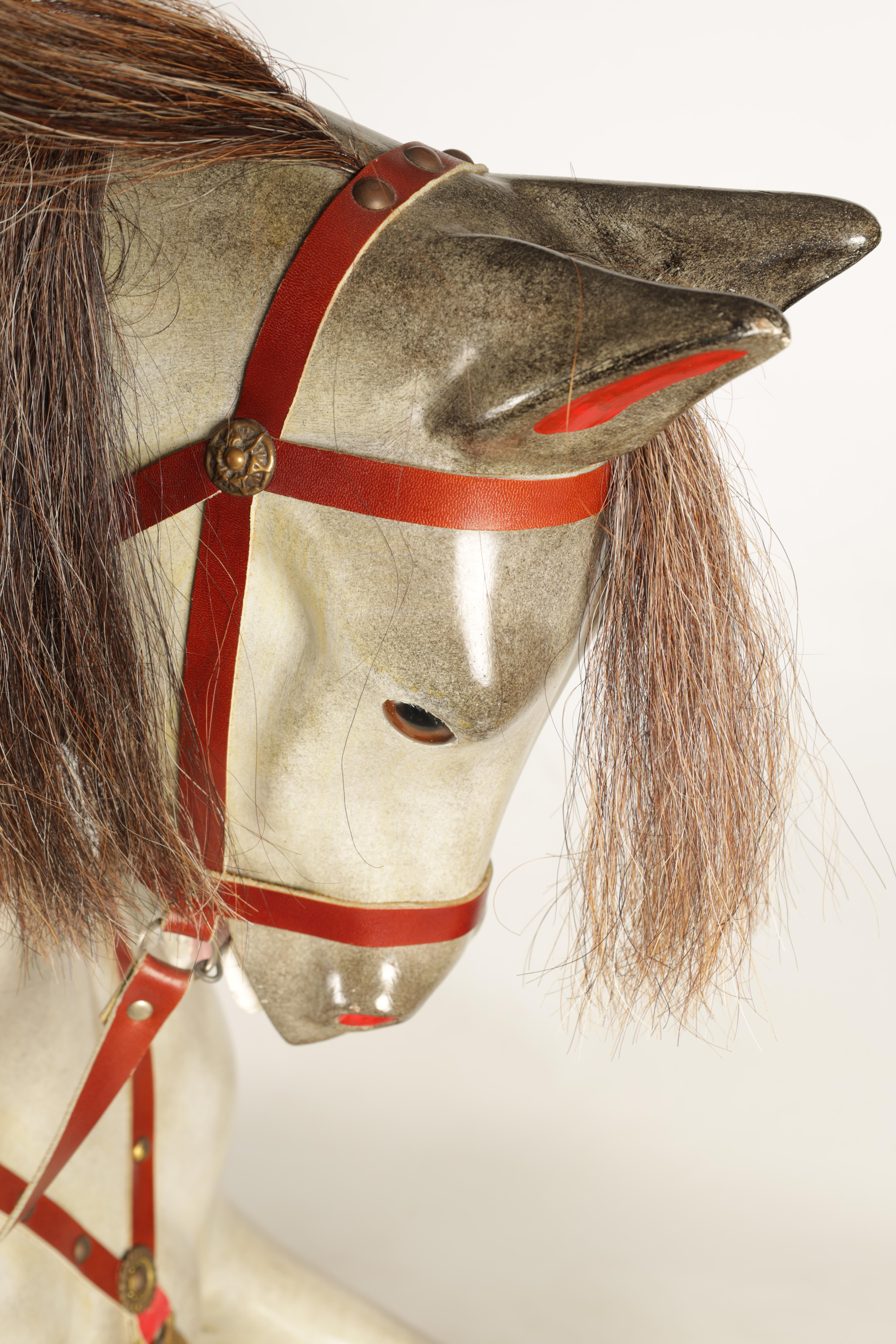 A LARGE 20TH CENTURY DAPPLE GREY PAINTED WOOD ROCKING HORSE with leather seat and bridle 157cm - Image 3 of 8