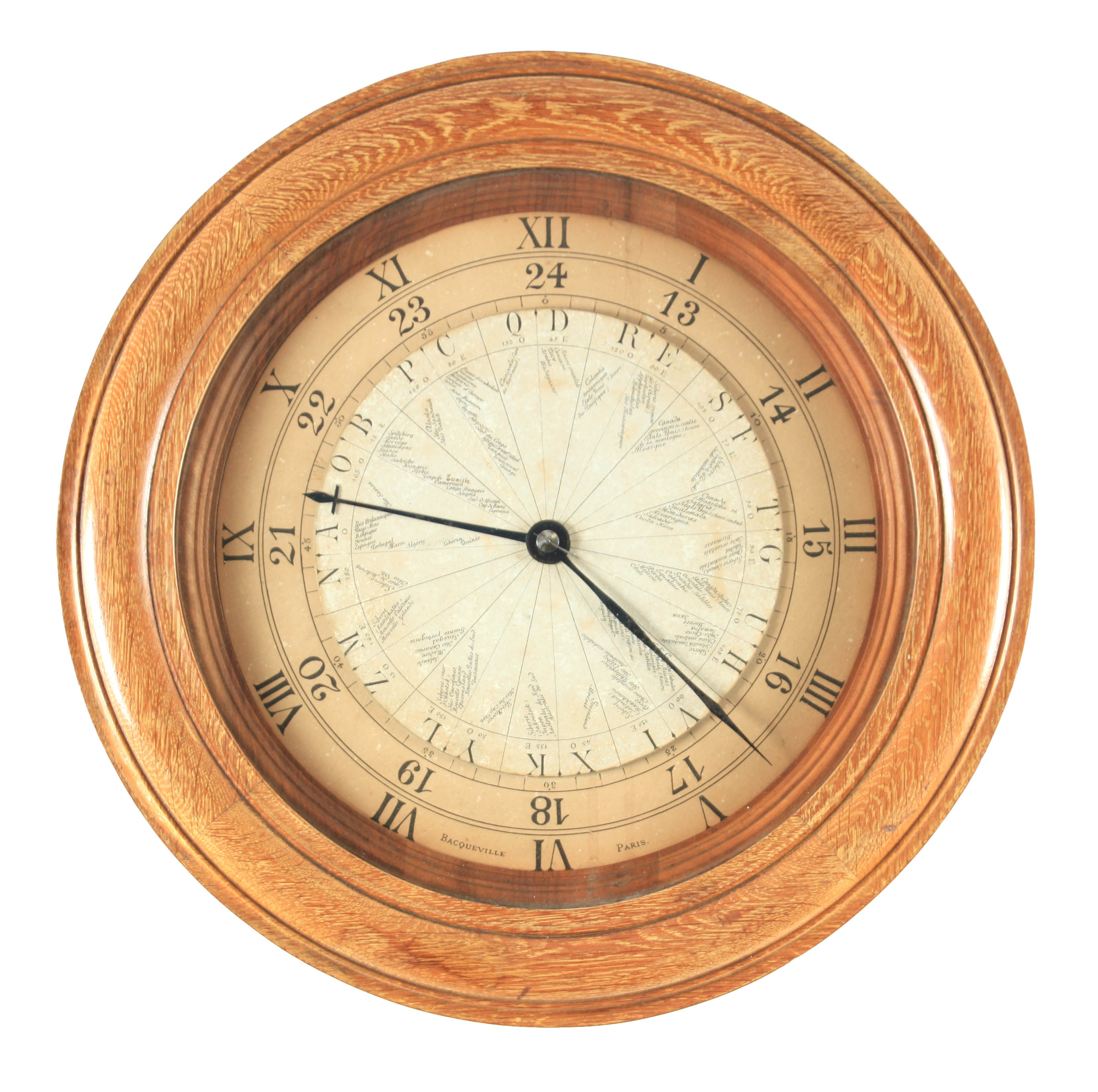 BACQUEVILLE, PARIS A UNIQUE LATE 19TH CENTURY LIMED OAK AND WALNUT WORLD TIME CLOCK the case with