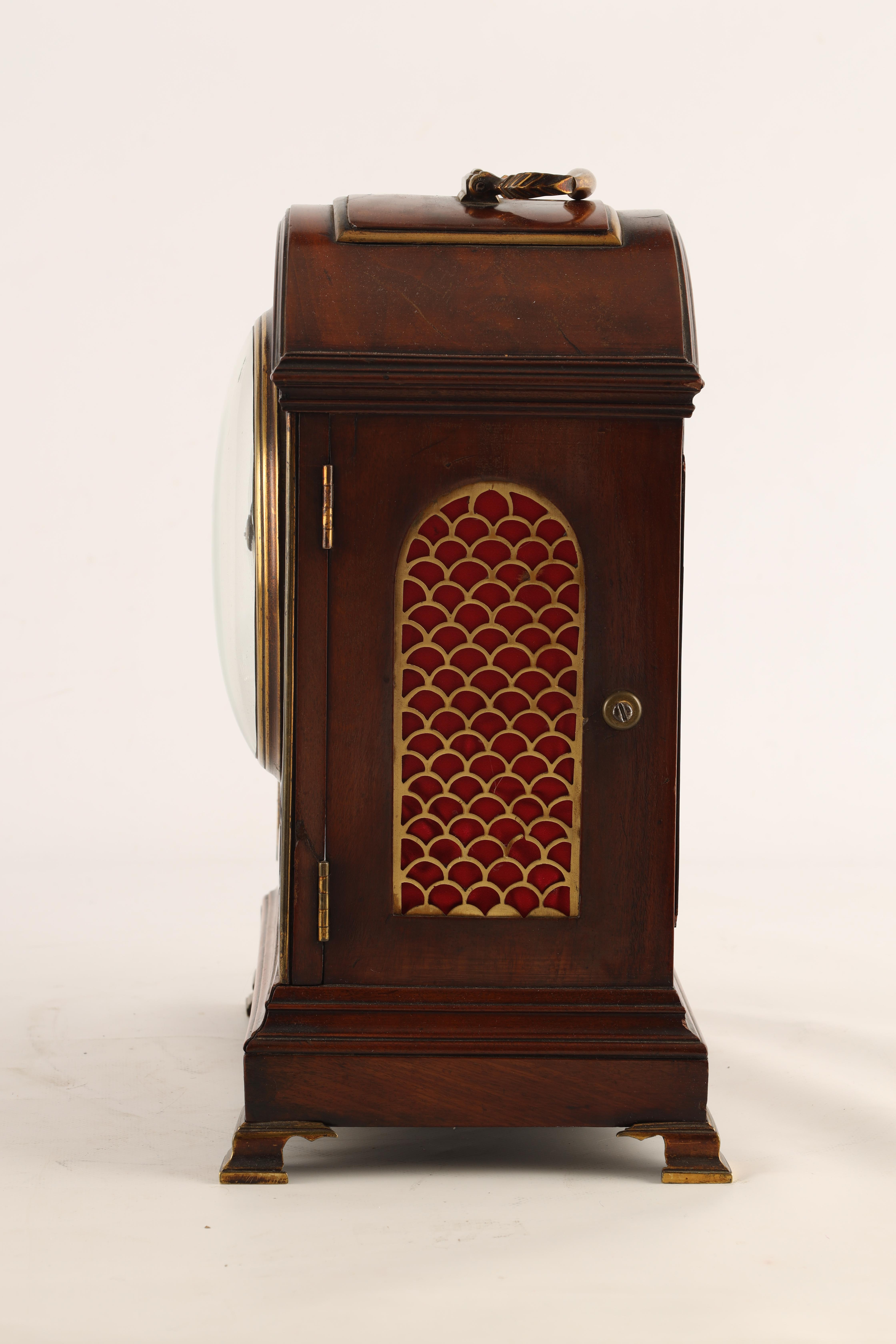 JOHN DOBBS, LONDON A LATE GEORGE III MAHOGANY VERGE BRACKET CLOCK the figured mahogany case with - Image 8 of 8