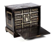 A LATE 17TH CENTURY ITALIAN EBONISED AND BONE INLAID TABLETOP CASKET with painted decoration to the