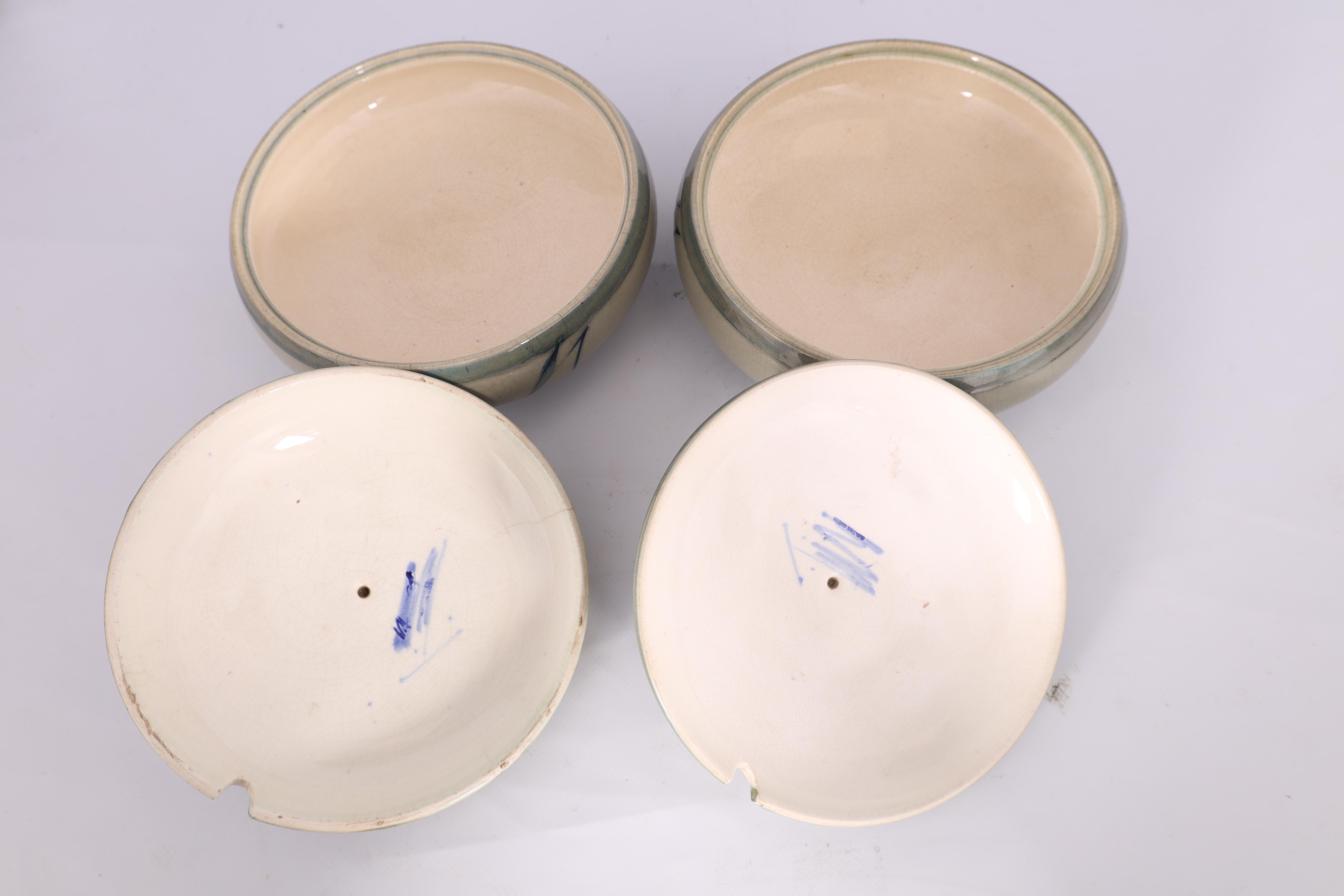 A PAIR OF MOORCROFT LIDDED TABLE TUREENS decorated in the Yacht pattern on a celadon ground, 19. - Image 6 of 12