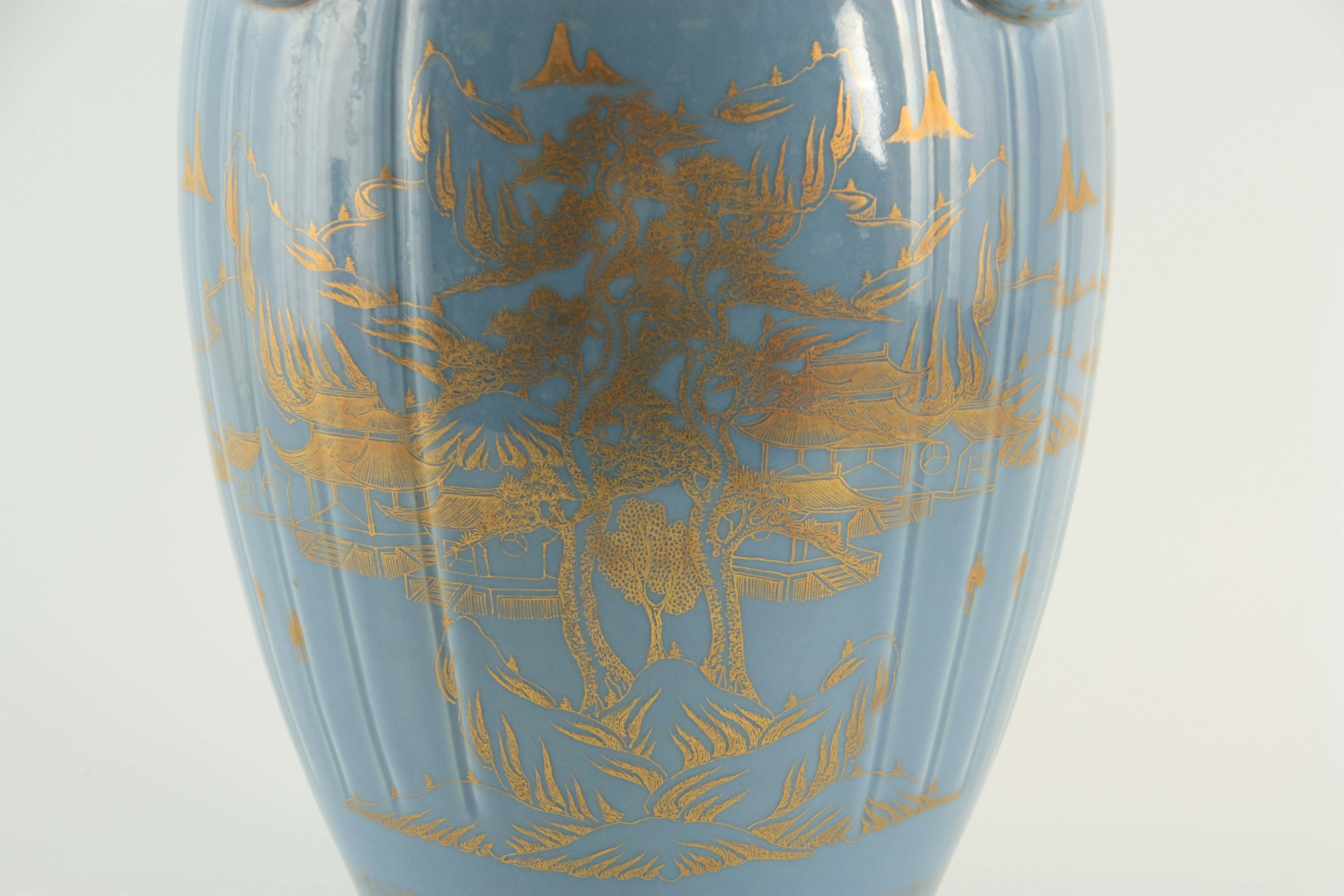 AN IMPRESSIVE 19TH CENTURY CHINESE BLUE AND GILT DECORATED VASE of ribbed shape with scrolled - Image 4 of 7