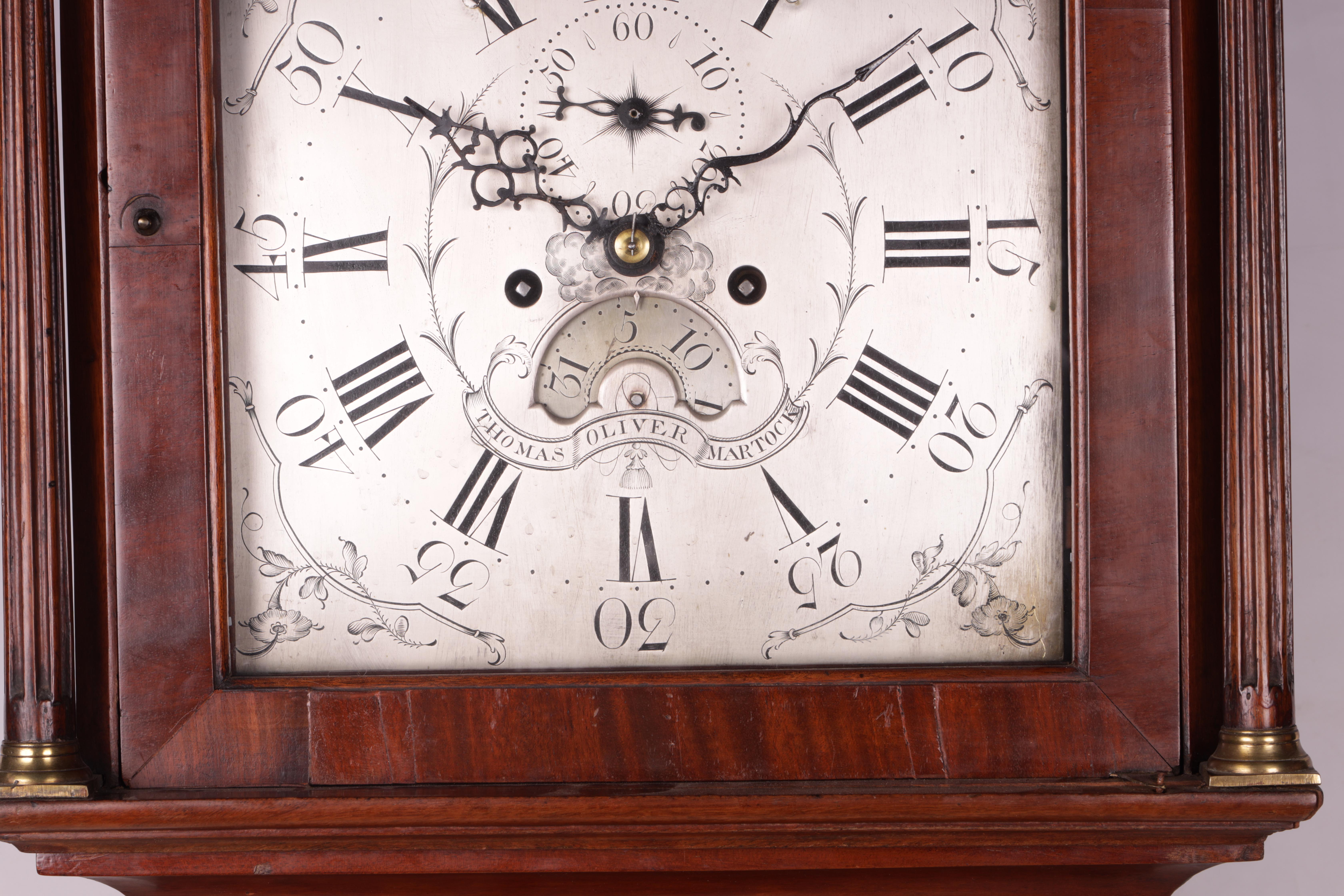"THOMAS OLIVER MARTOCK A LATE 18TH CENTURY MAHOGANY 8-DAY AUTOMATON LONGCASE CLOCK the 12"" silvered - Image 3 of 8"
