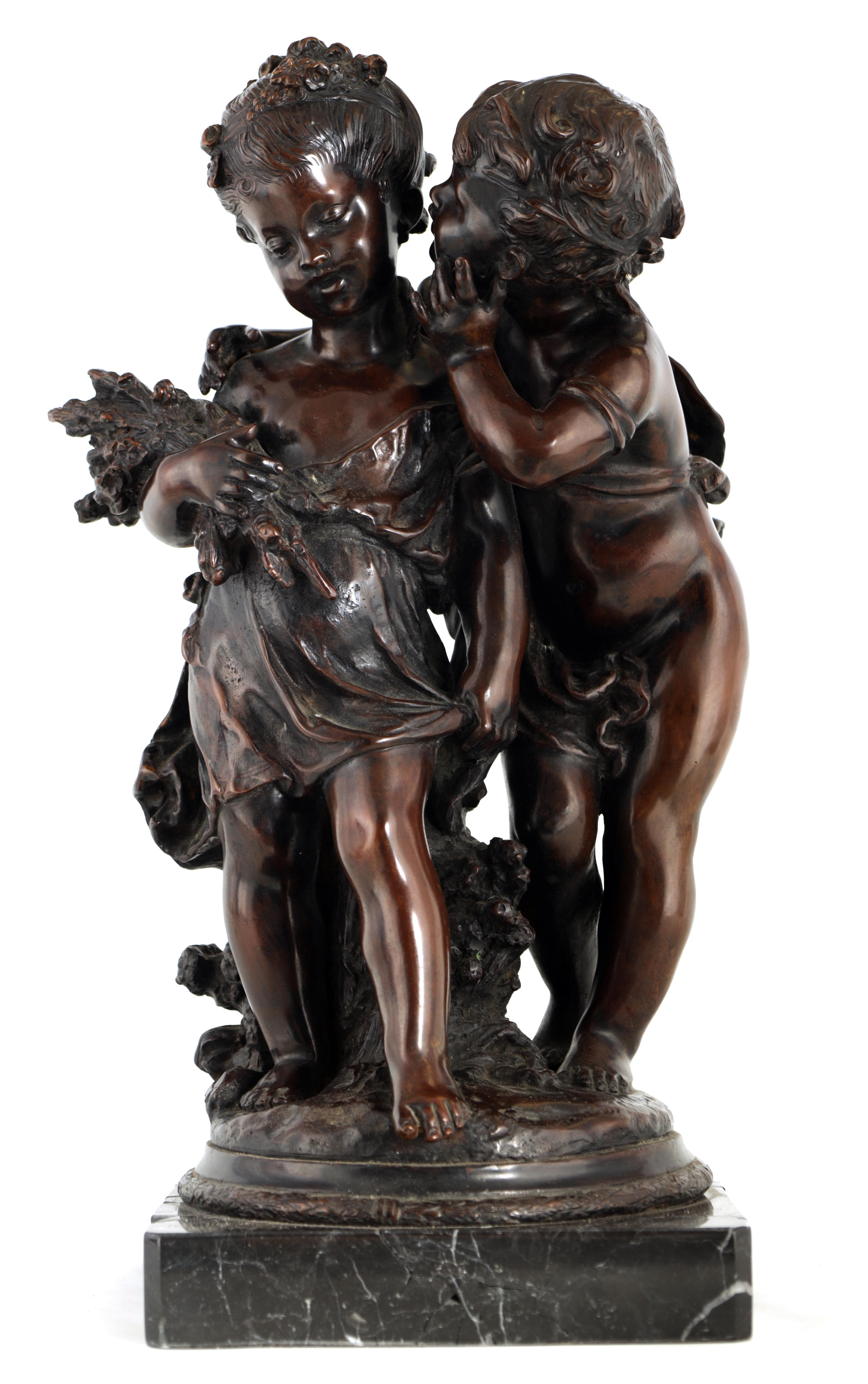 A 19TH CENTURY STYLE FRENCH BRONZE FIGURE GROUP depicting a young male and female -signed R.MOREAV -