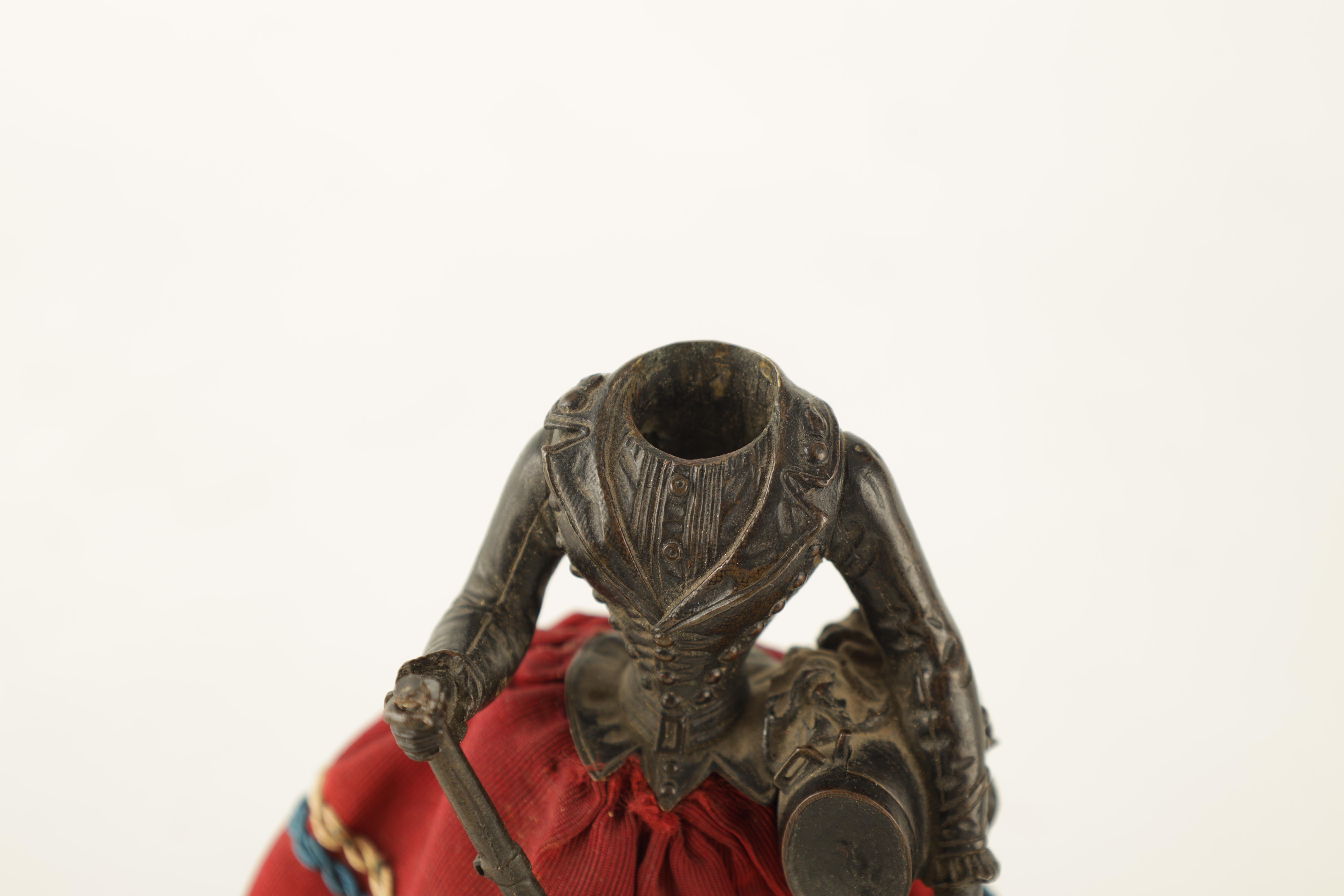 A LATE 19TH CENTURY NOVELTY BRONZE DESK COMPENDIUM DEPICTING A LADY HOLDING A RIFFLE with red - Image 4 of 10