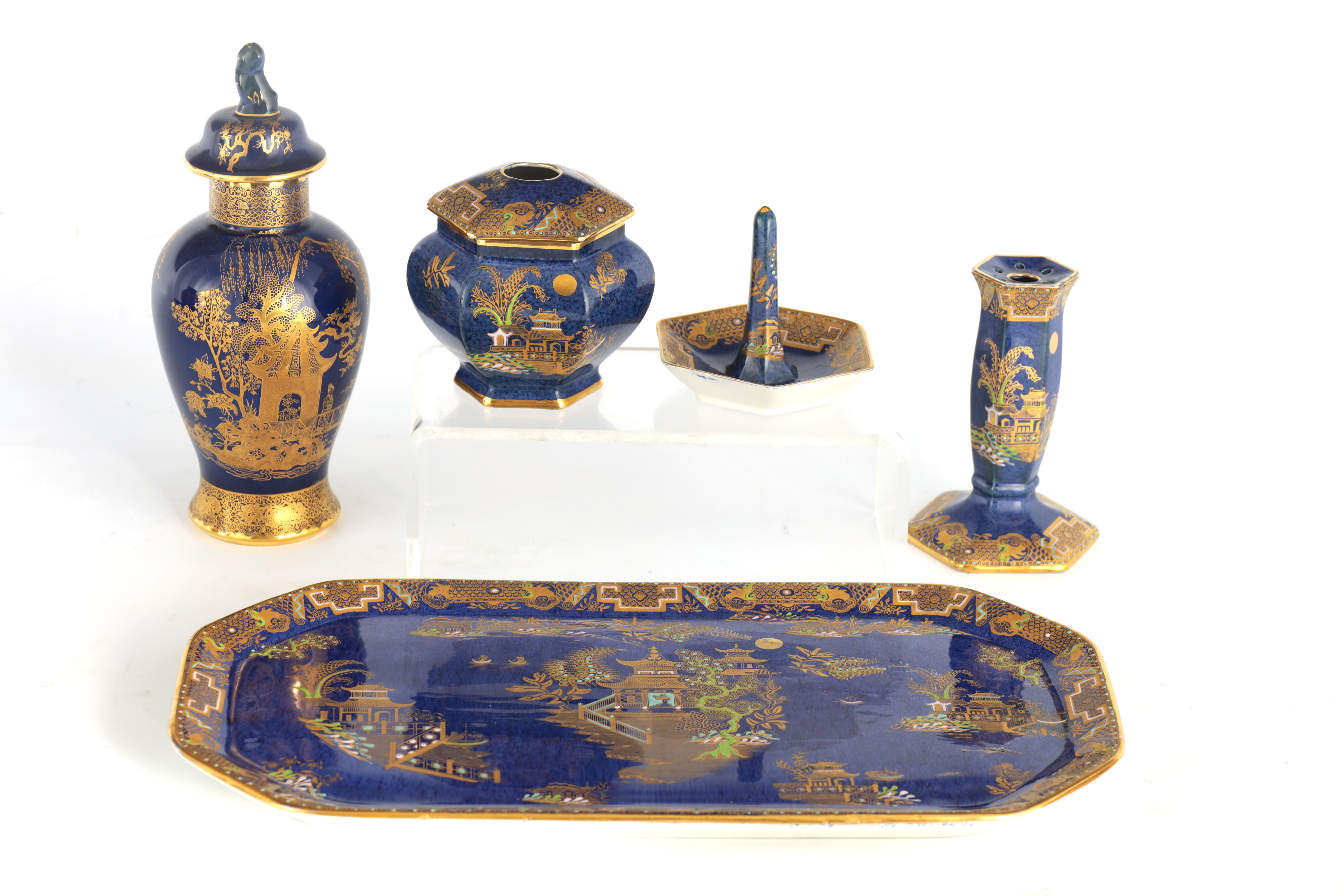 A CARLTON WARE FIVE PIECE DRESSING TABLE SET decorated in an oriental gilt pattern with pagodas - Image 3 of 18
