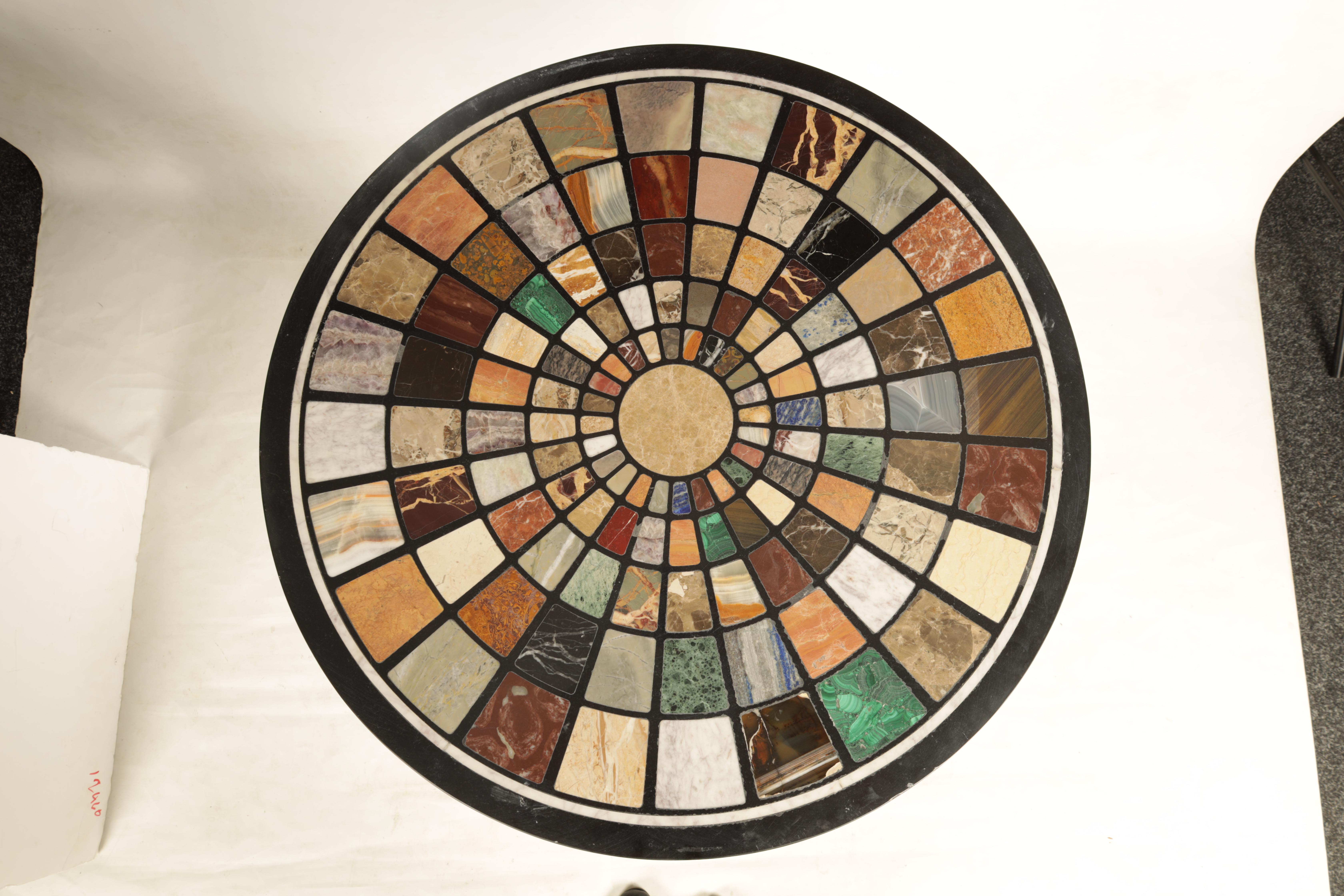 A 19TH CENTURY CAST IRON 'BRITTANIA' TABLE BASE WITH 20TH CENTURY SPECIMEN MARBLE TOP inlaid with - Image 2 of 7
