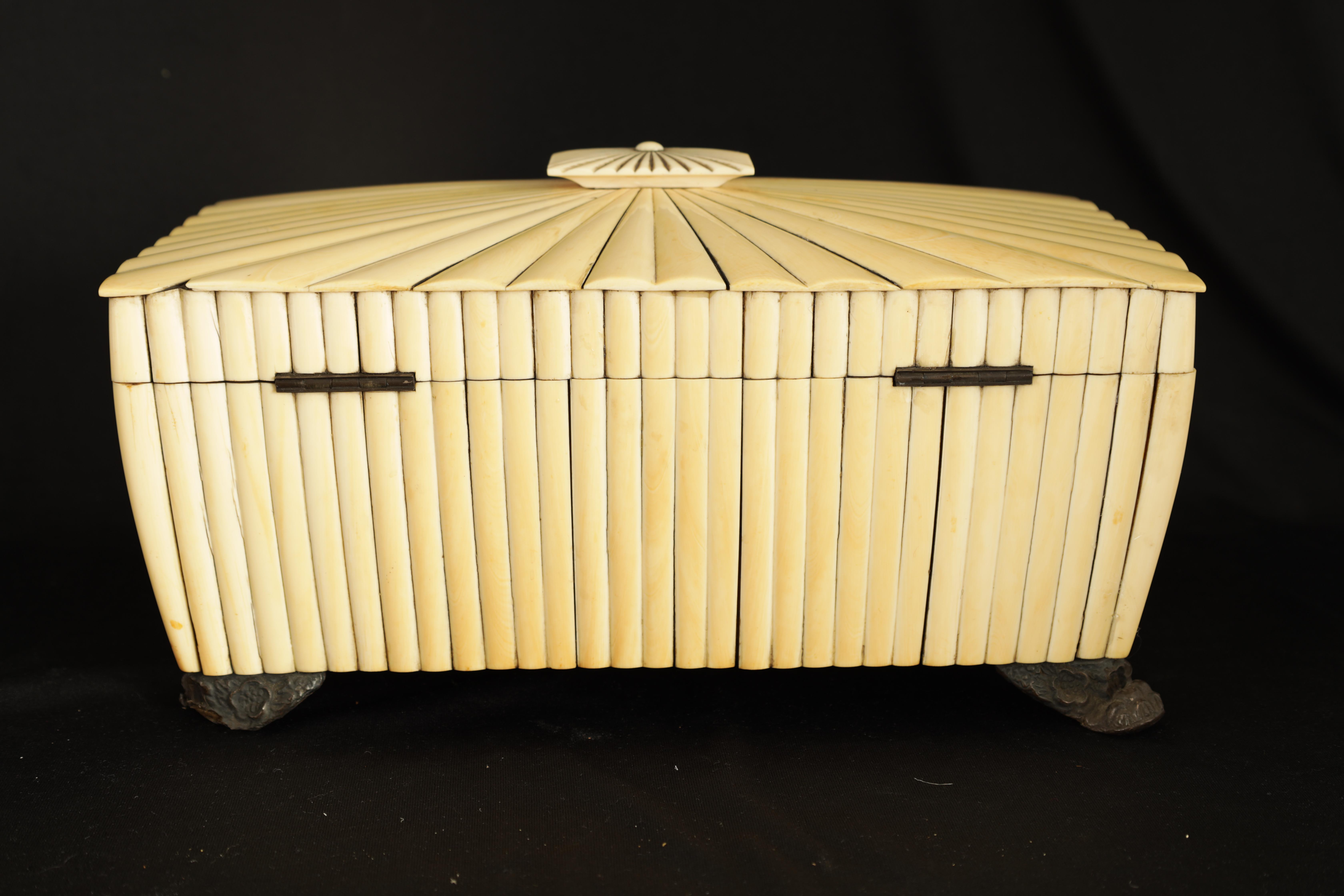 A REGENCY ANGLO-INDIAN IVORY AND SANDALWOOD VIZAGAPATAM TEA CADDY of sarcophagus form with gadroon - Image 10 of 12