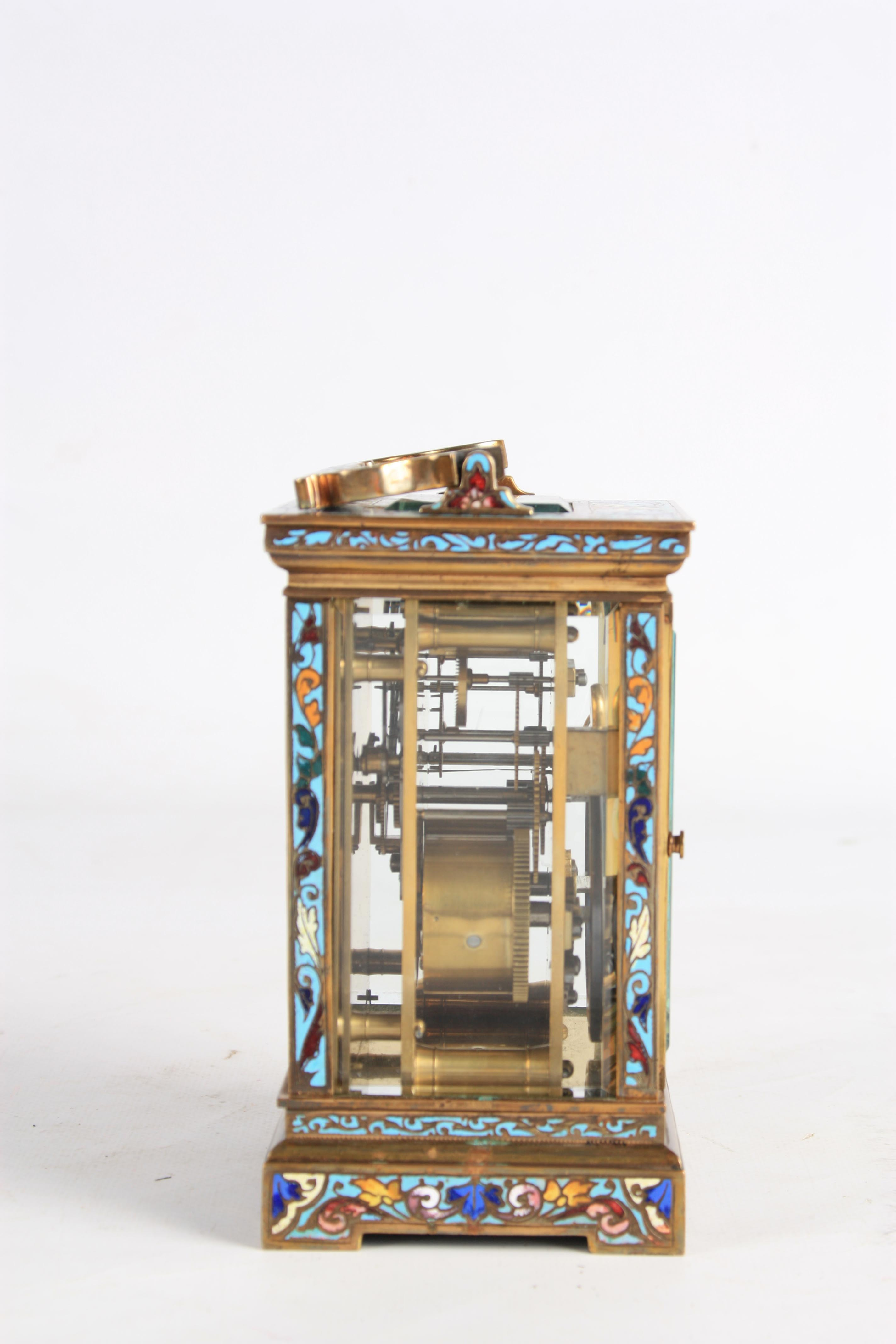 A LATE 19TH CENTURY FRENCH CHAMPLEVE ENAMEL STRIKING CARRIAGE CLOCK the case covered in champleve - Image 6 of 6