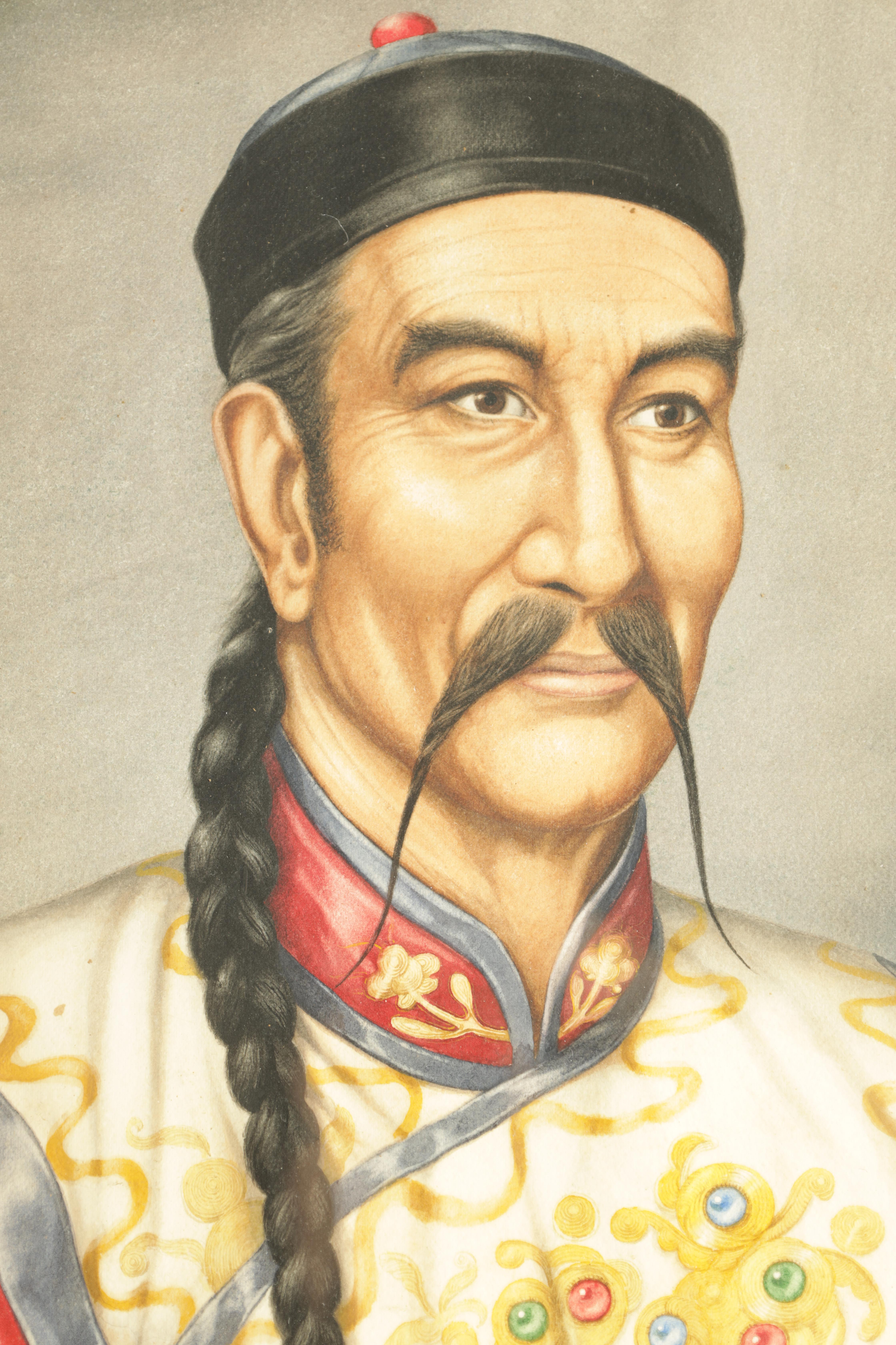 A MID 20TH CENTURY WATERCOLOUR depicting a portrait of a Chinese Dignatory signed by A P Lucas dated - Image 2 of 5