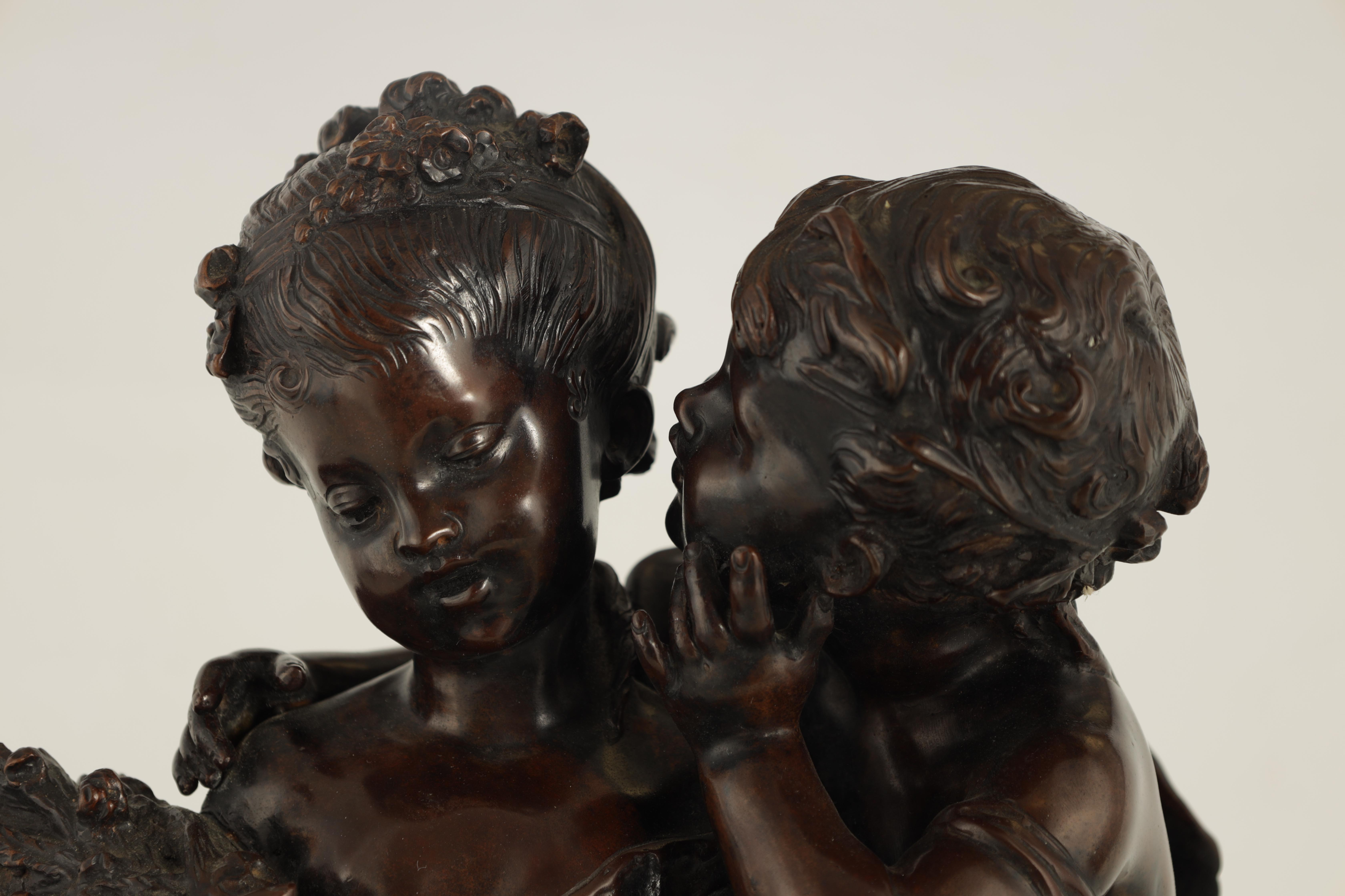 A 19TH CENTURY STYLE FRENCH BRONZE FIGURE GROUP depicting a young male and female -signed R.MOREAV - - Image 2 of 9
