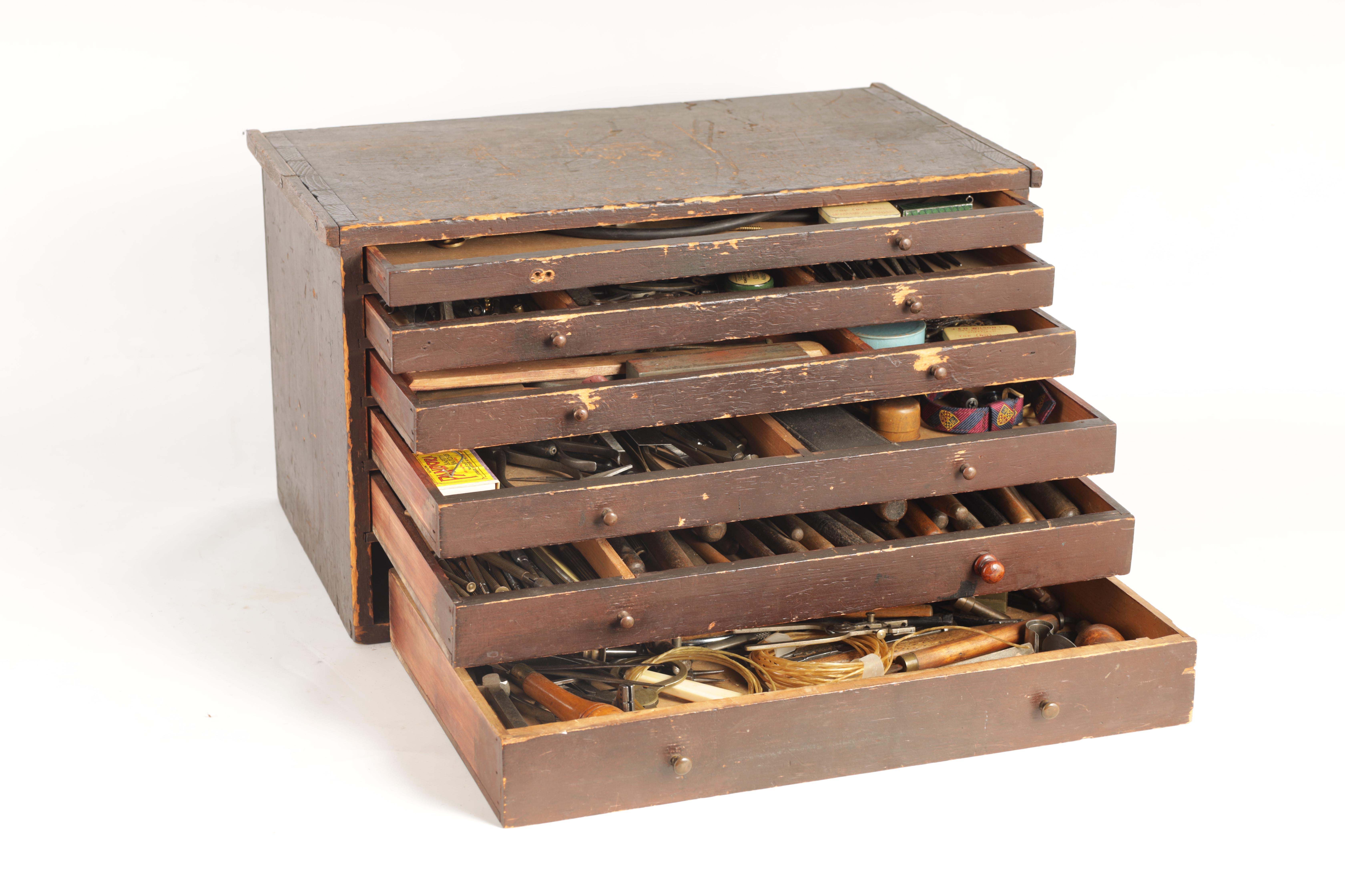 A LARGE COLLECTION OF JEWELERS AND WATCHMAKERS TOOLS contained in a set of pine drawers - Image 12 of 12