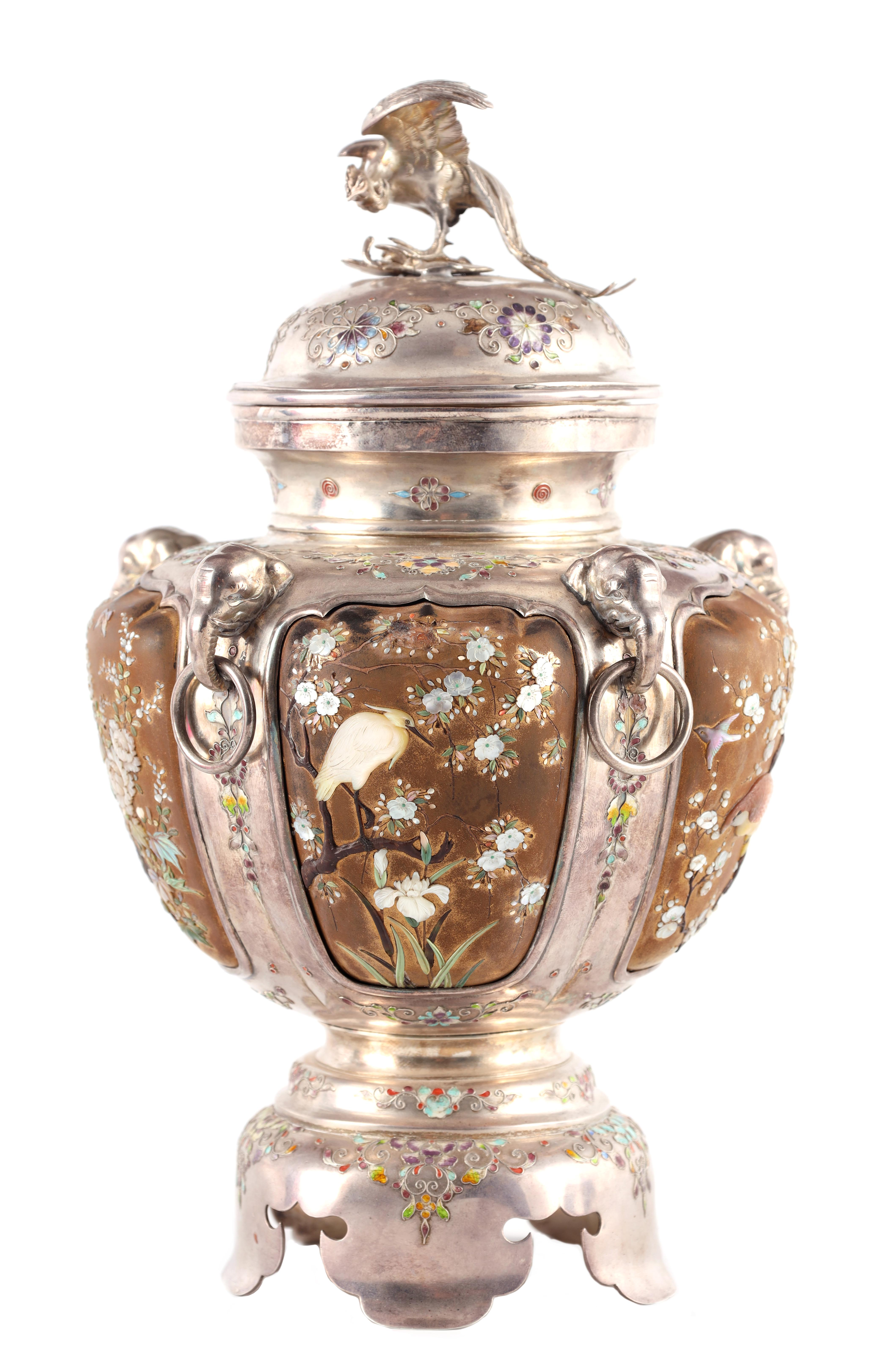 A JAPANESE MEIJI PERIOD SILVER & GOLD LACQUER SHIBAYAMA KORO covered in multicoloured enamels, the