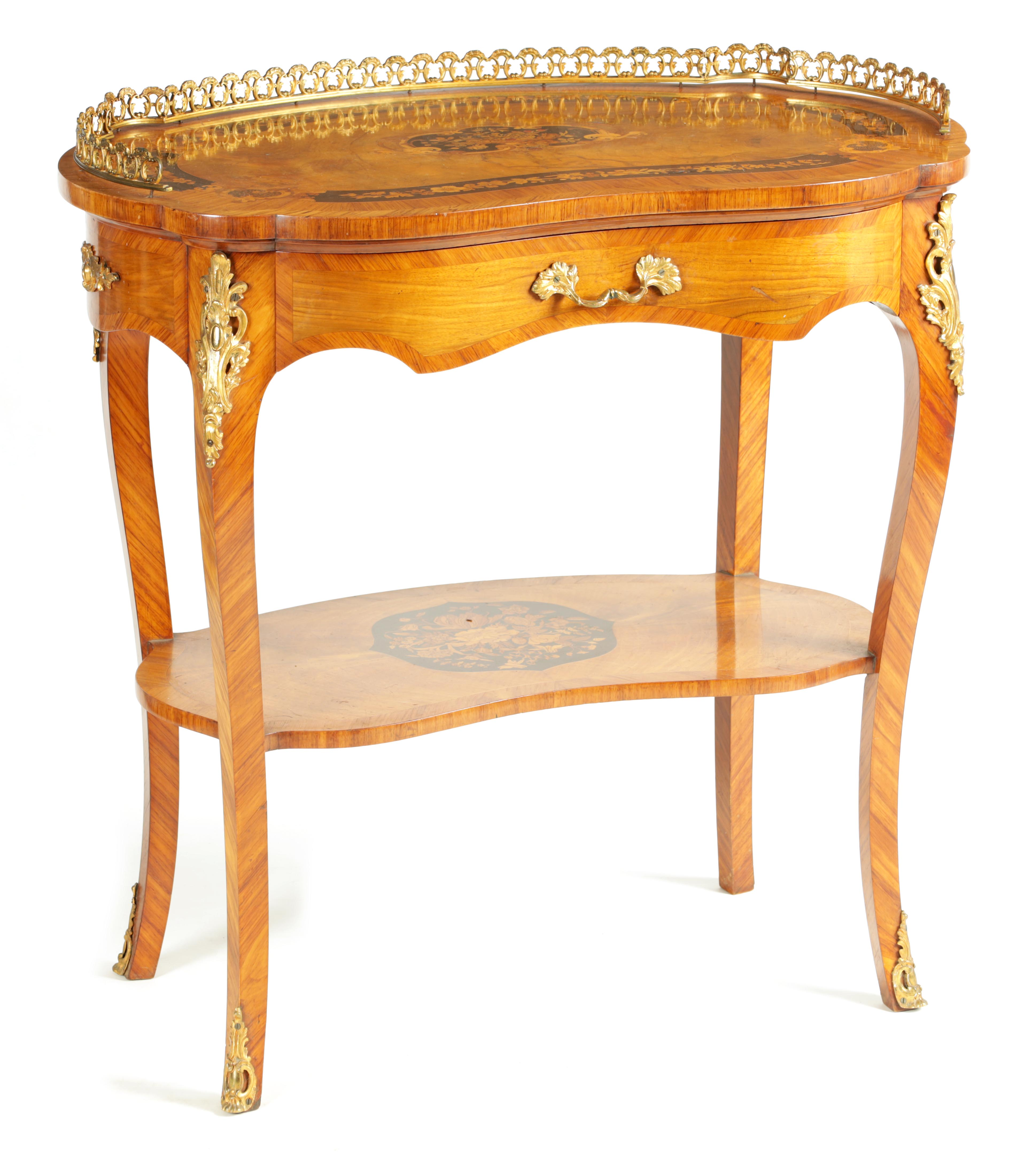 A FINE 19TH CENTURY MARQUETRY INLAID WALNUT KIDNEY SHAPED WRITING TABLE with raised brass
