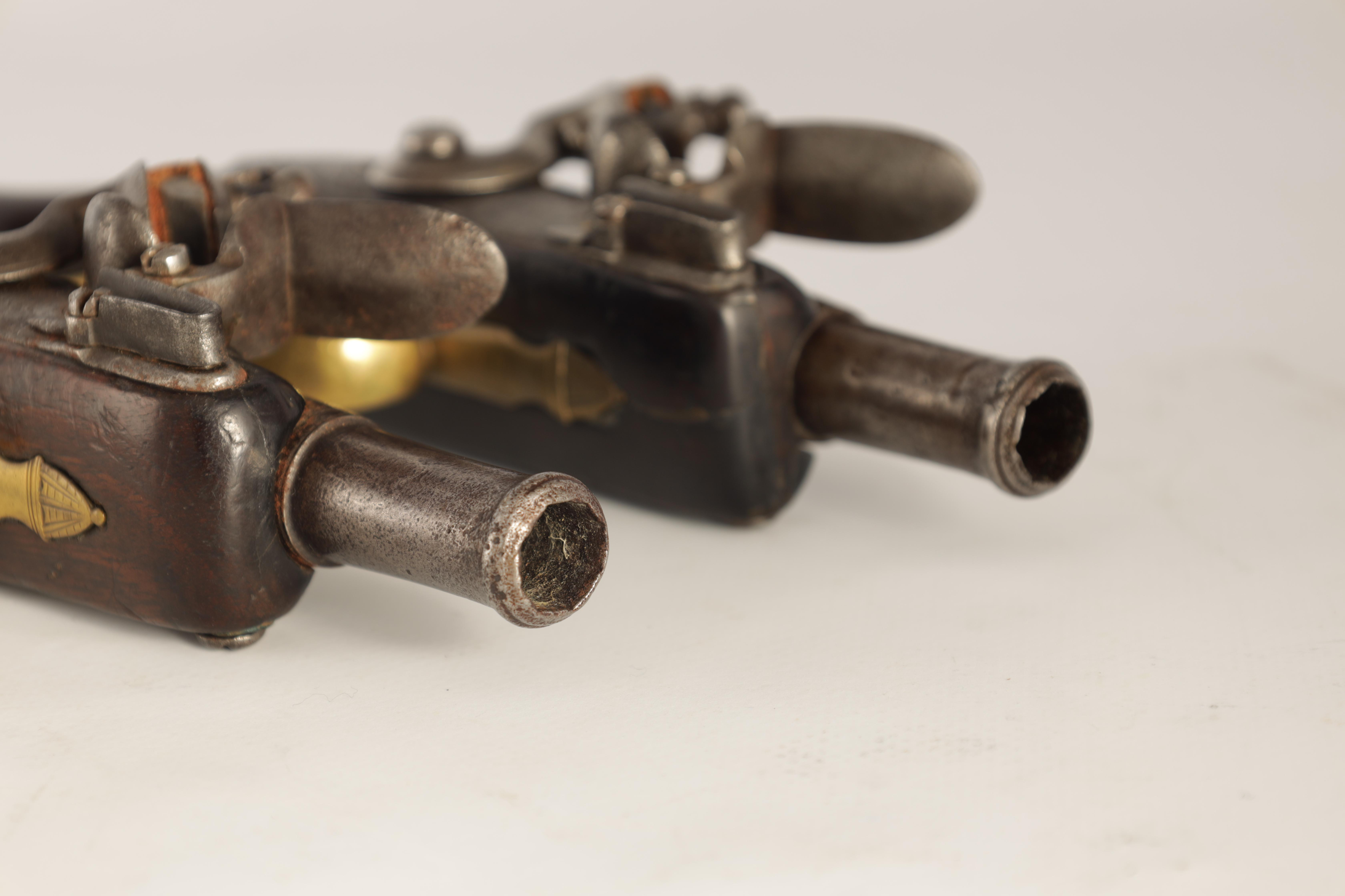 T. JONES. A PAIR OF EARLY 18TH CENTURY FLINTLOCK POCKET PISTOLS with turn-off cannon barrel, - Image 8 of 14