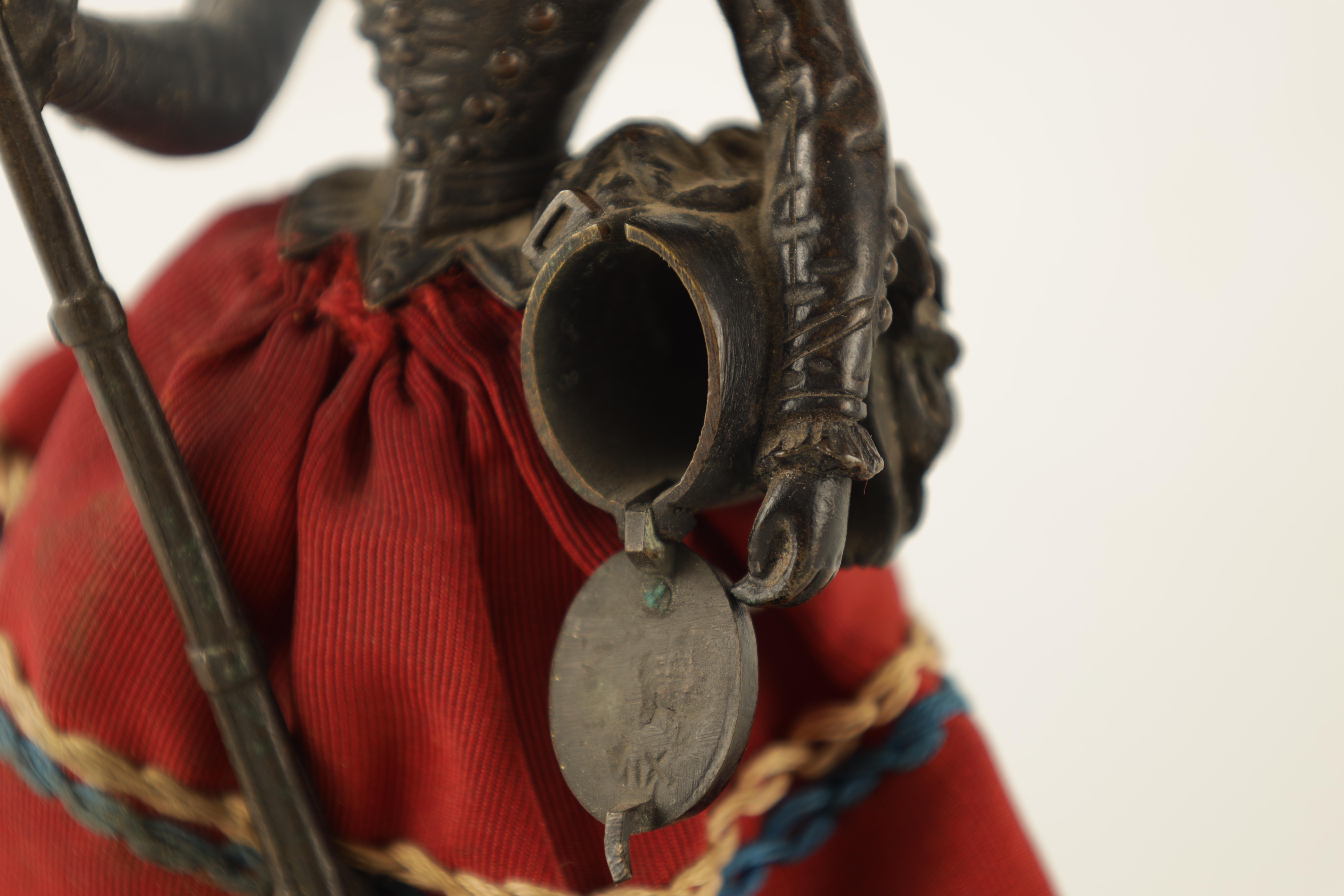 A LATE 19TH CENTURY NOVELTY BRONZE DESK COMPENDIUM DEPICTING A LADY HOLDING A RIFFLE with red - Image 6 of 10