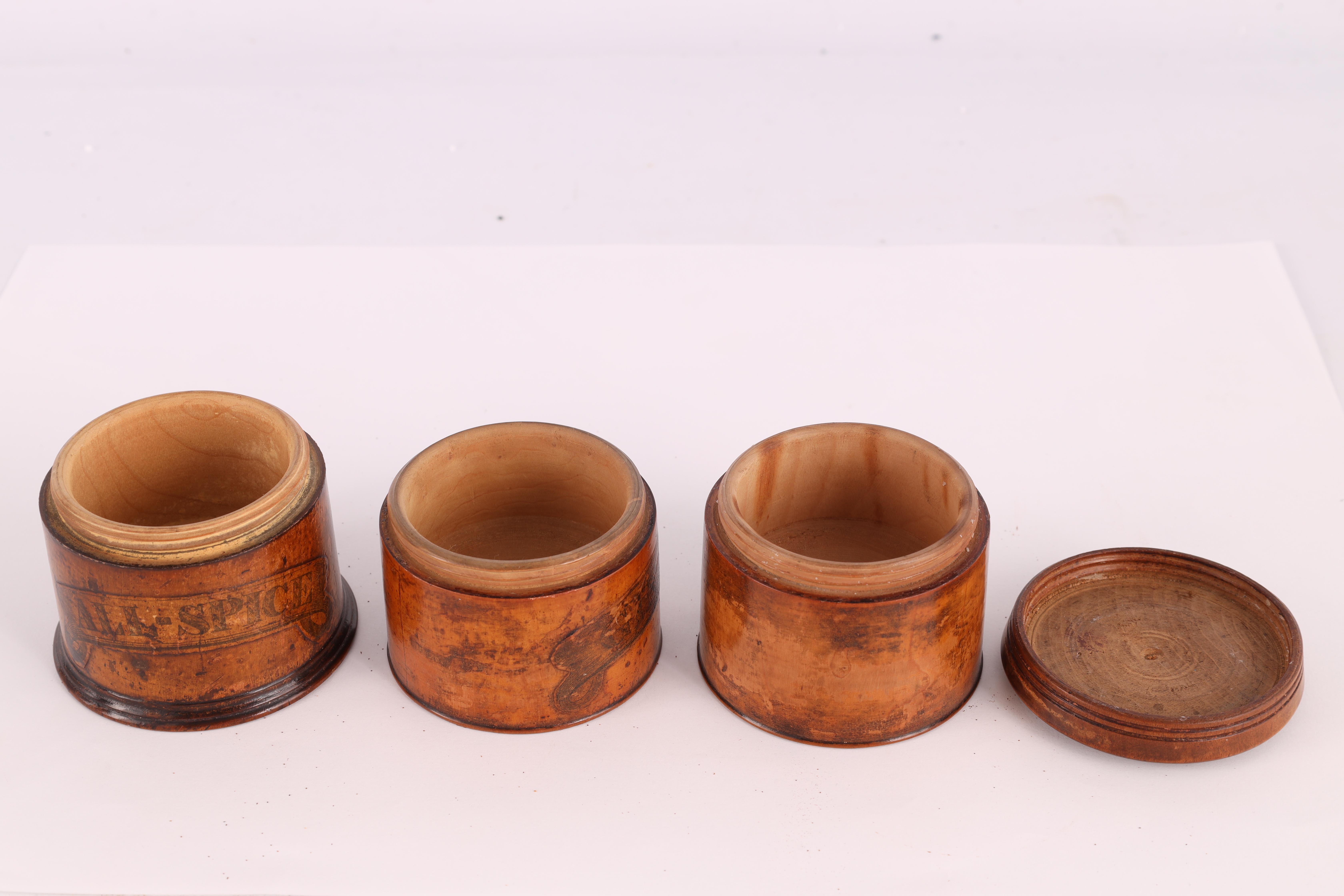 TWO EARLY 19TH CENTURY SYCAMORE TREEN SPICE TOWERS with original labels, the three stack 15cm - Image 11 of 13